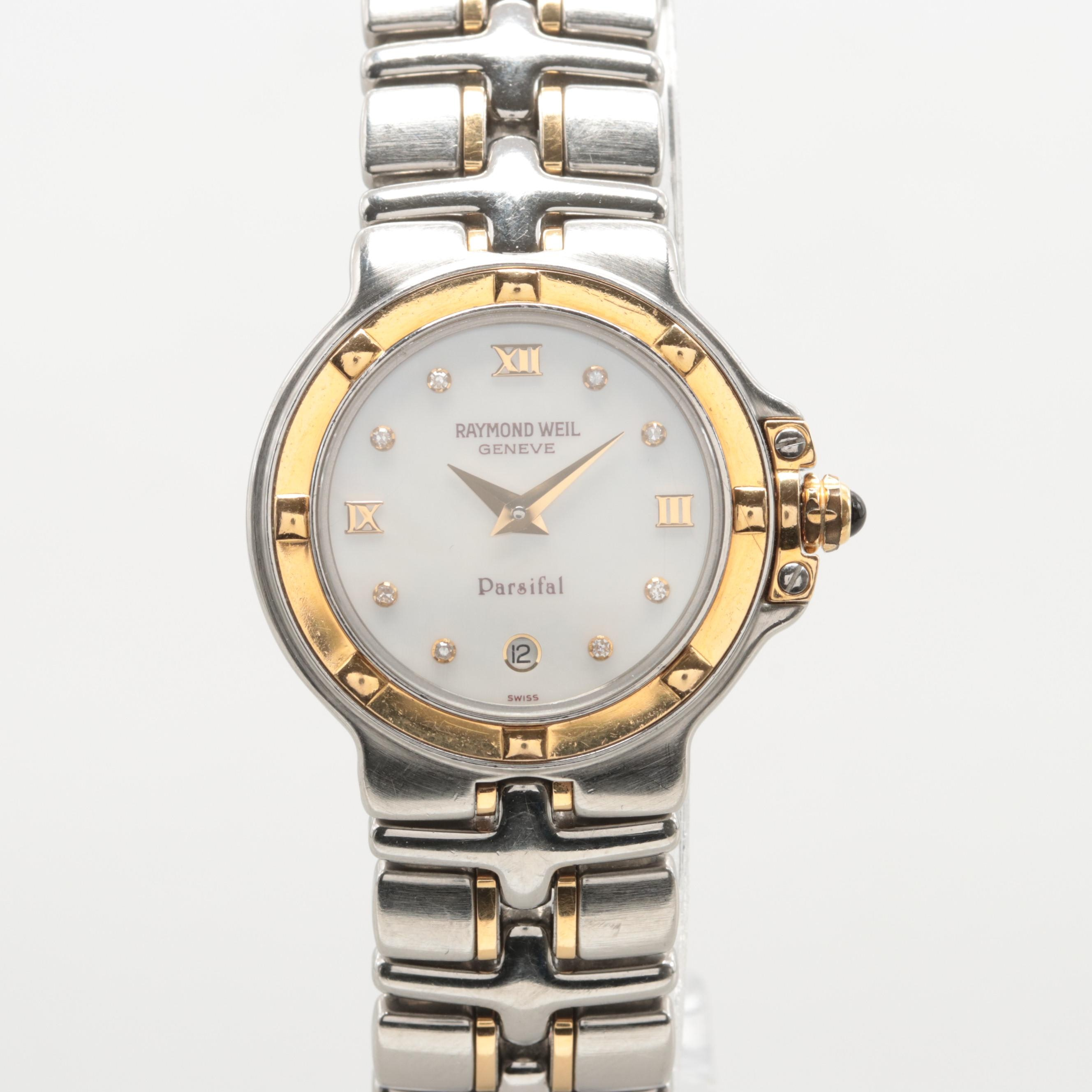 Raymond Weil Parsifal Two-Tone Yellow Gold Diamond and Mother of Pearl Watch