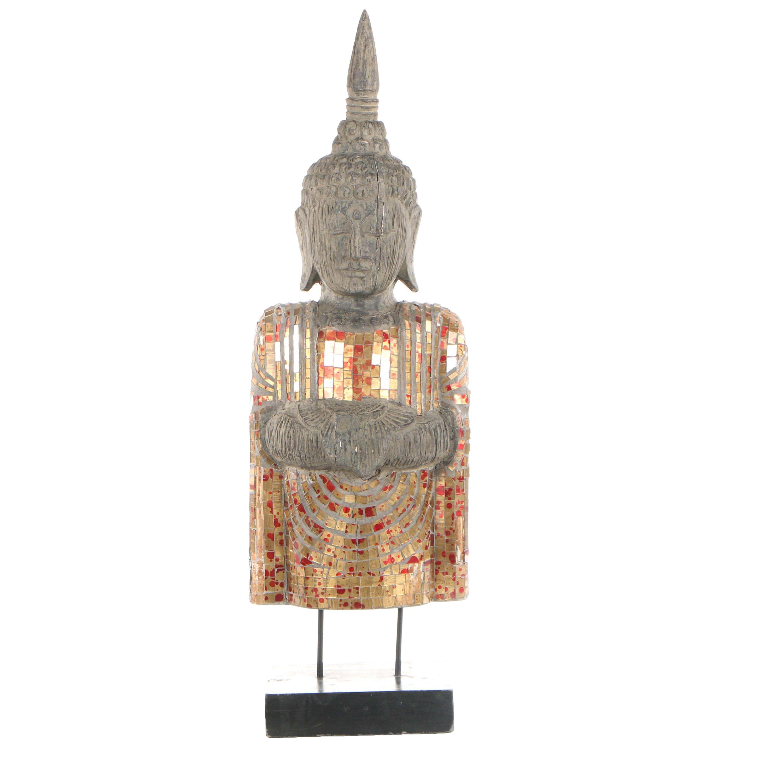 Thai Style Mixed Media Buddha Sculpture