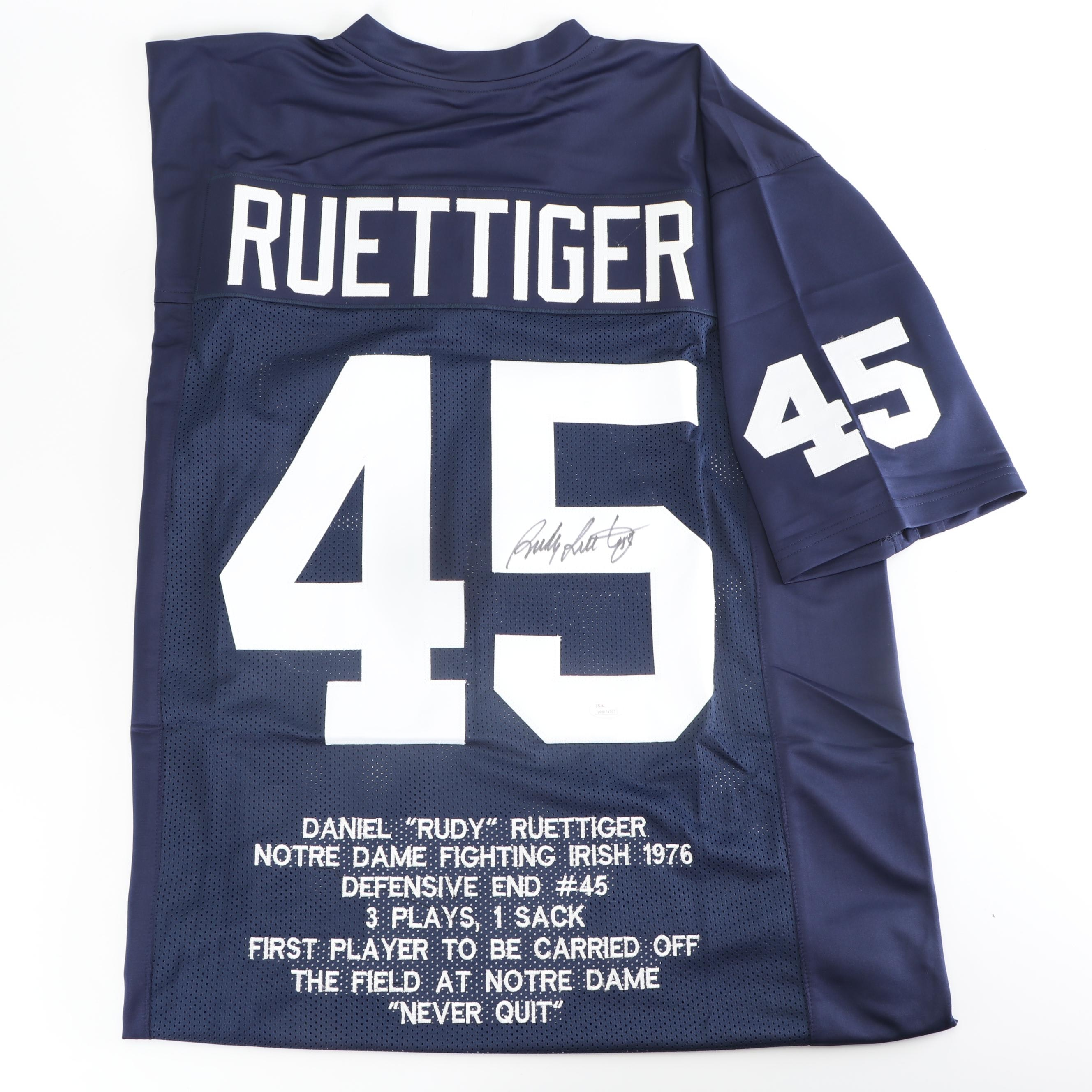 """Rudy Ruettiger """"Rudy"""" Autographed Replica Jersey - JSA COA"""