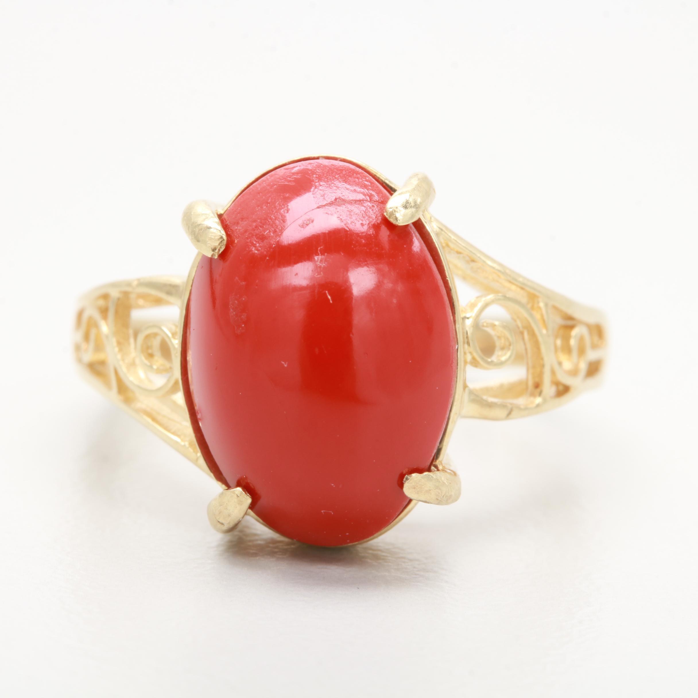 10K Yellow Gold Orange Glass Ring