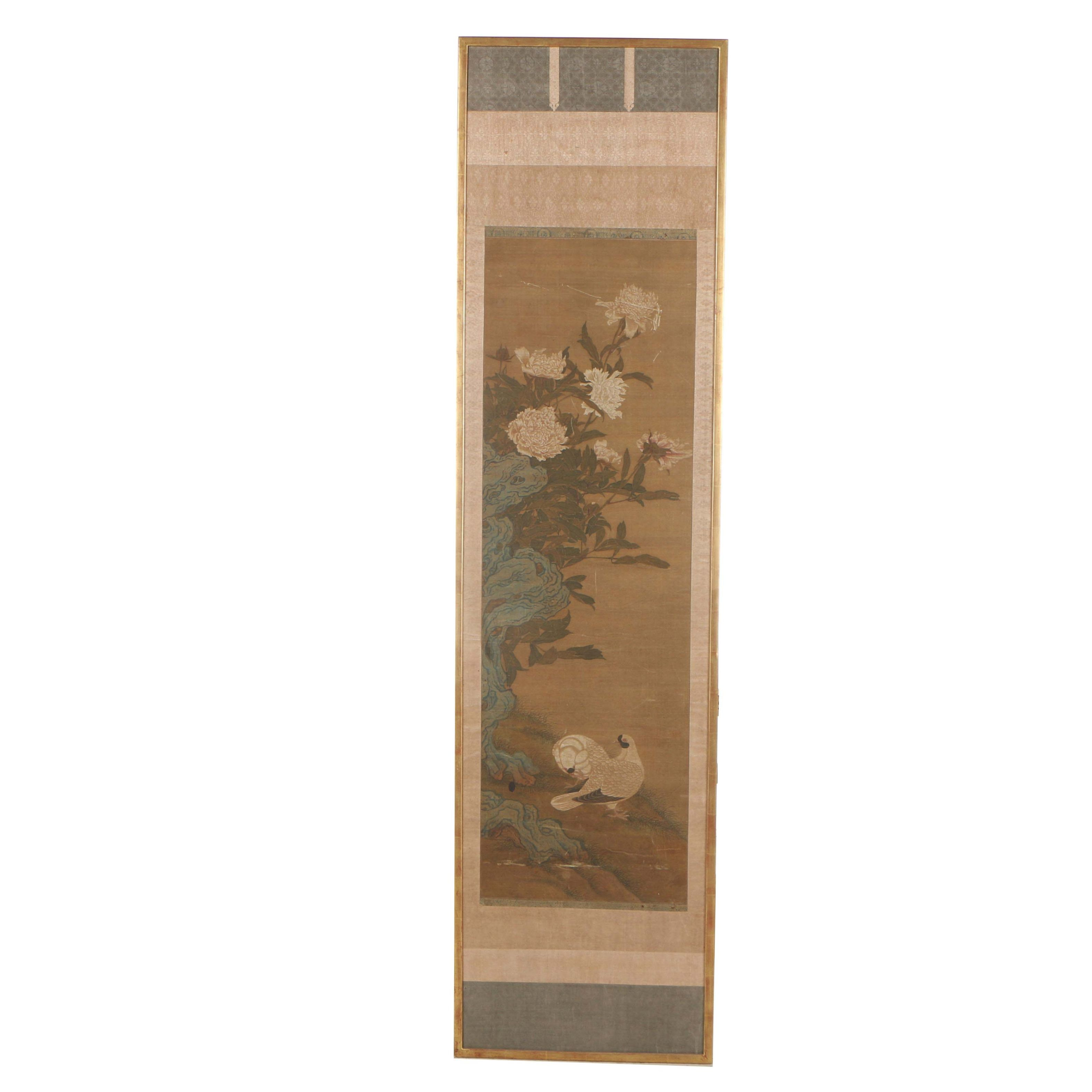 Chinese Gouache Hanging Scroll of Doves and Peonies