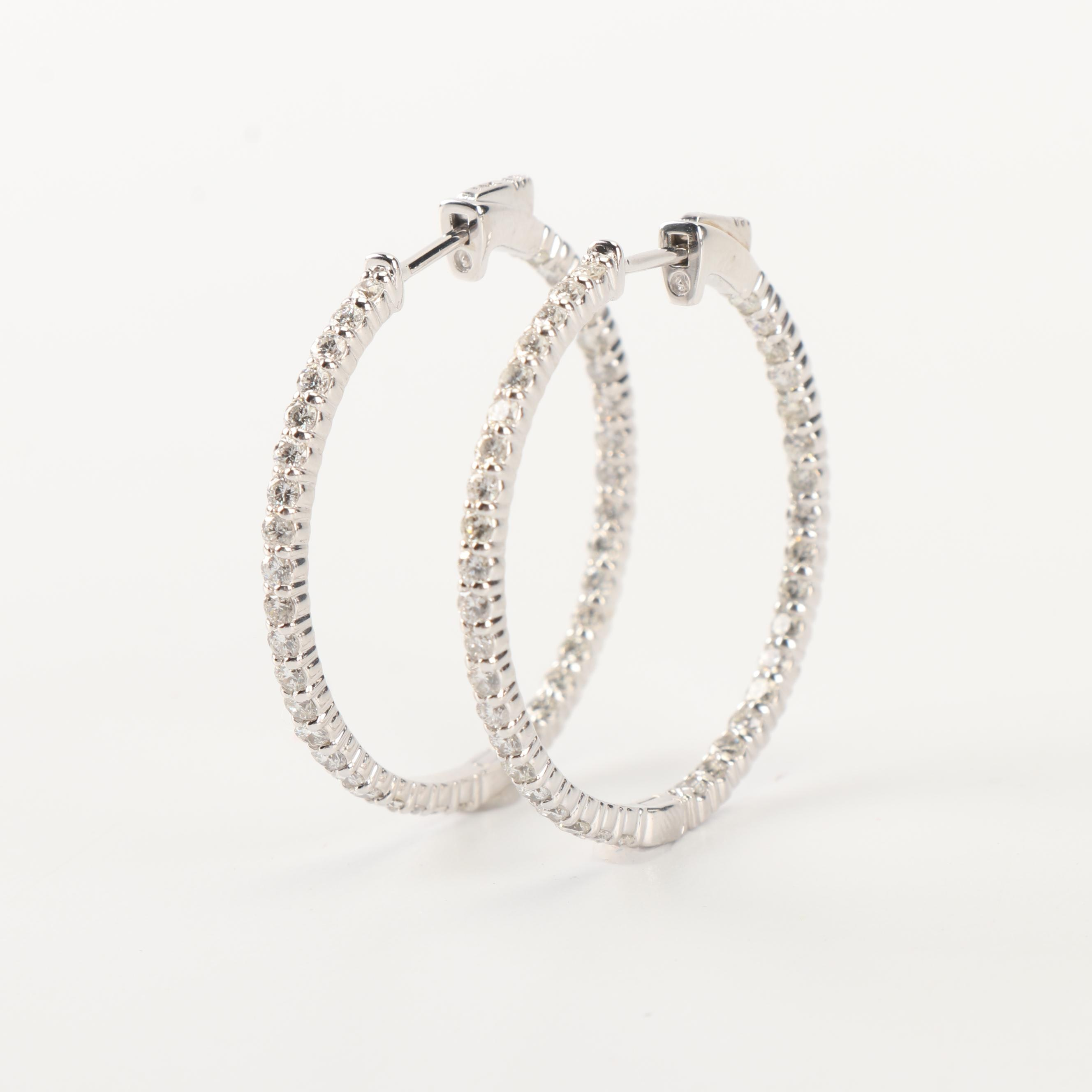 14K White Gold 2.45 CTW Diamond Inside Out Hoop Earrings