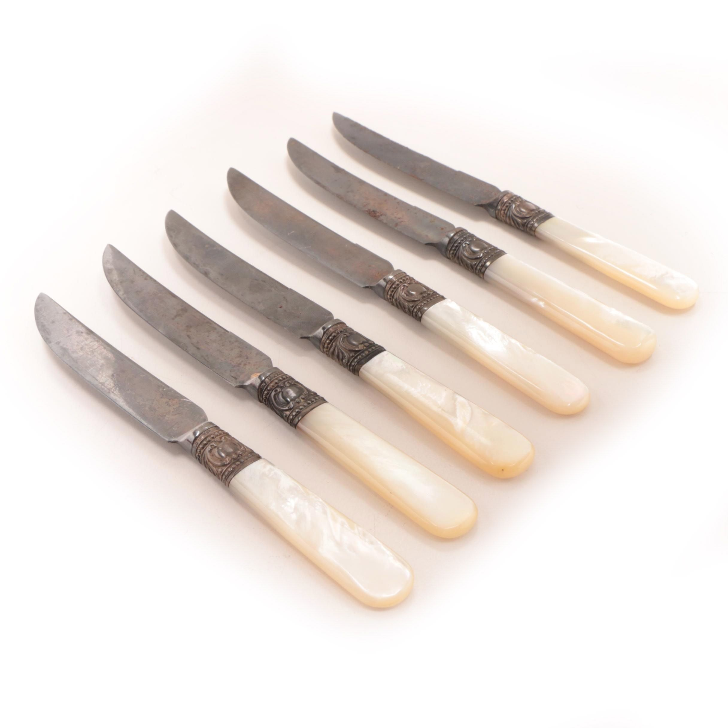 American Silver Co. Sterling Bolstered Mother of Pearl Fruit Knives
