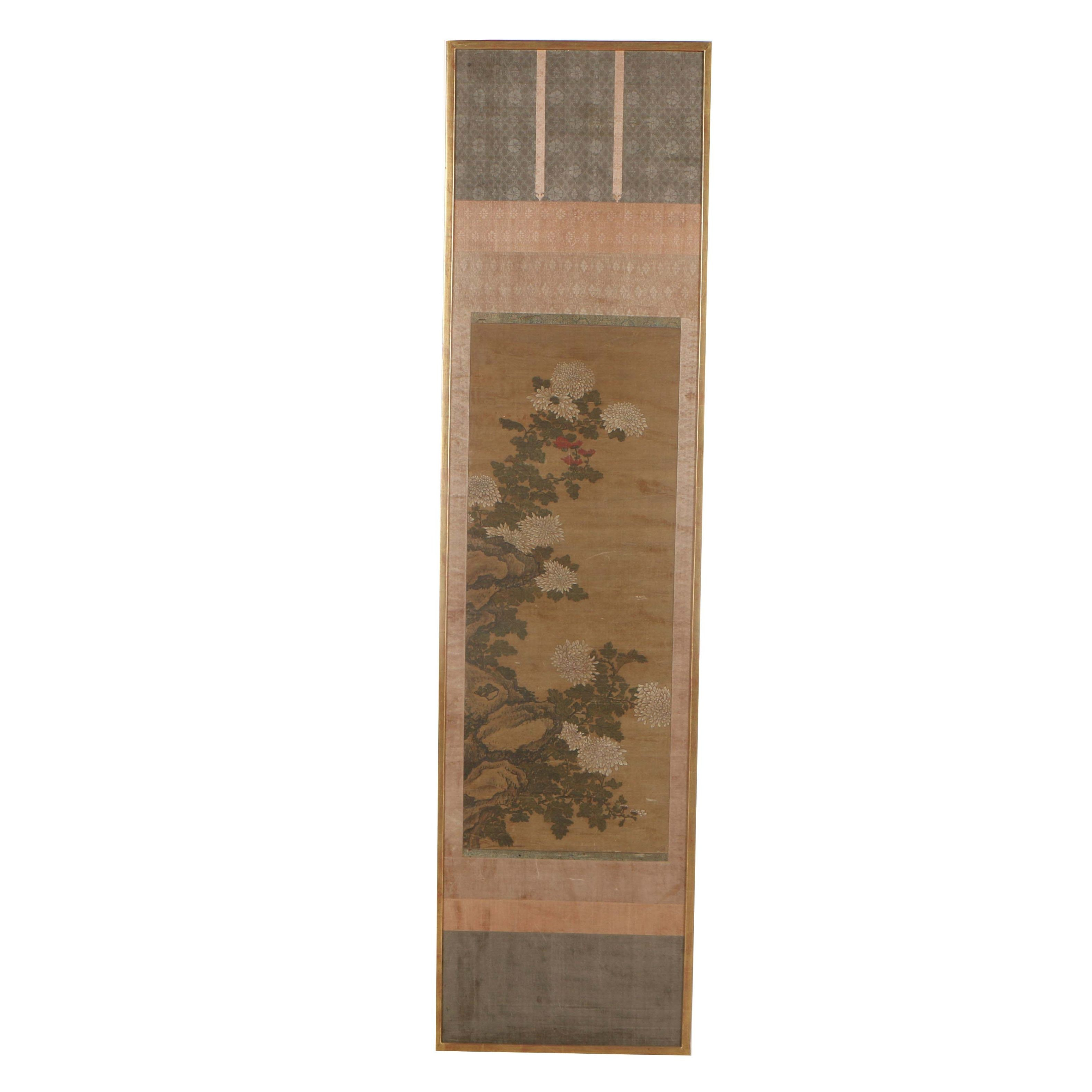 Chinese Gouache Hanging Scroll of Chrysanthemums