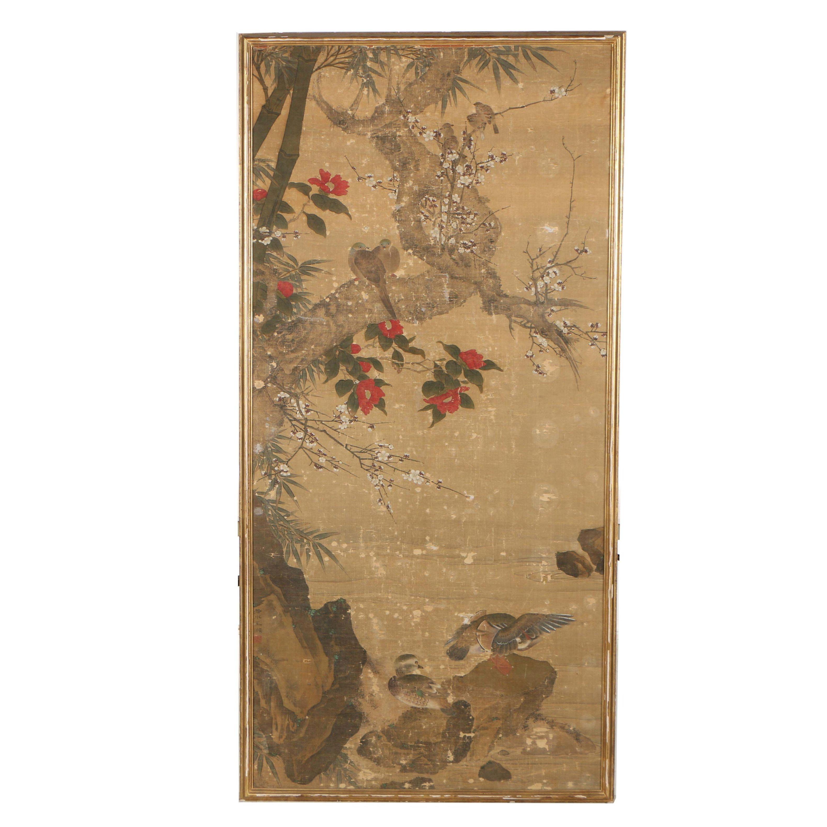 Chinese Gouache Painting on Silk of Mandarin Ducks and Plum Blossoms