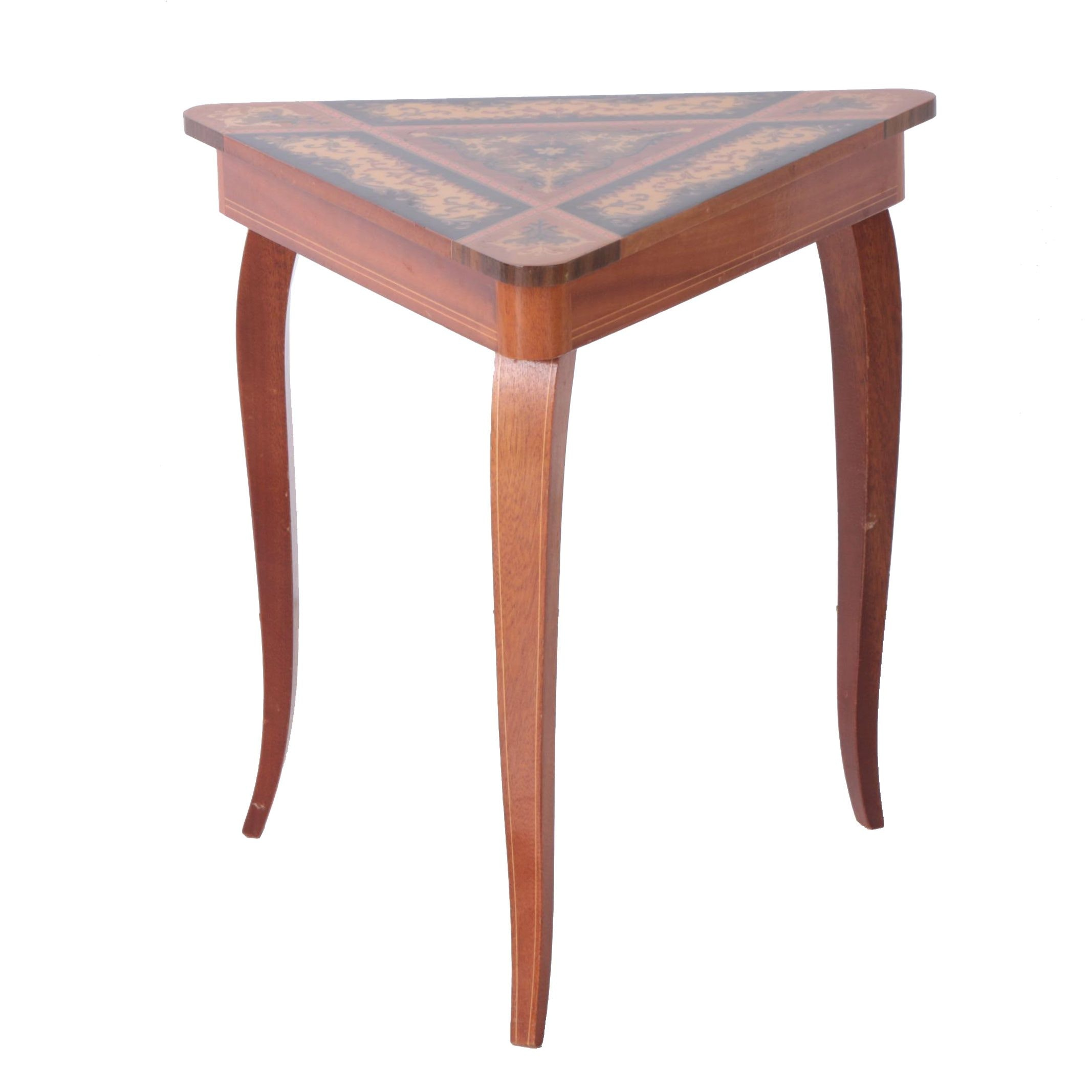 Italian Renaissance Style Marquetry Inlay Music Box Side Table, Mid 20th Century