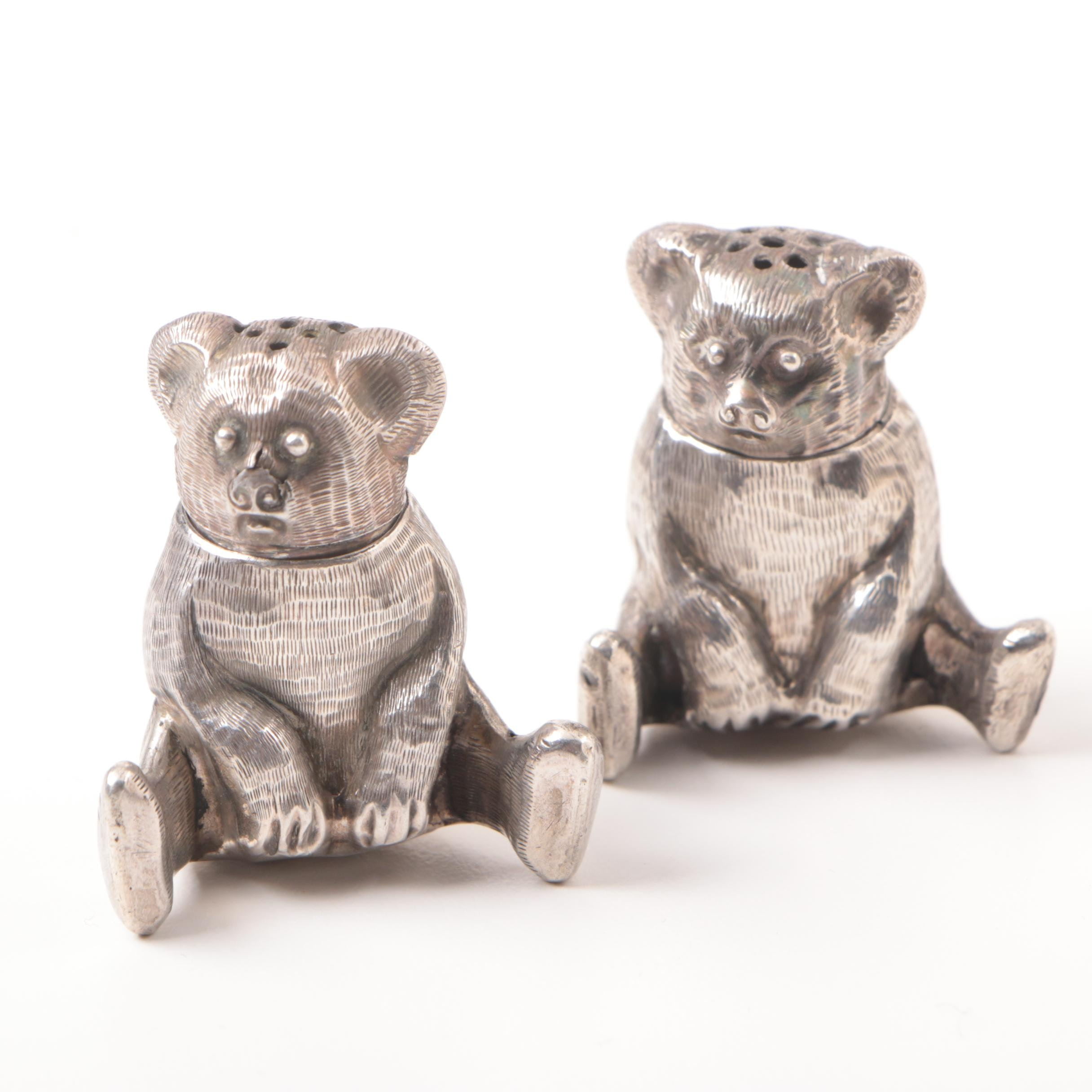 Pair of Sterling Silver Teddy Bear Salt and Pepper Shakers