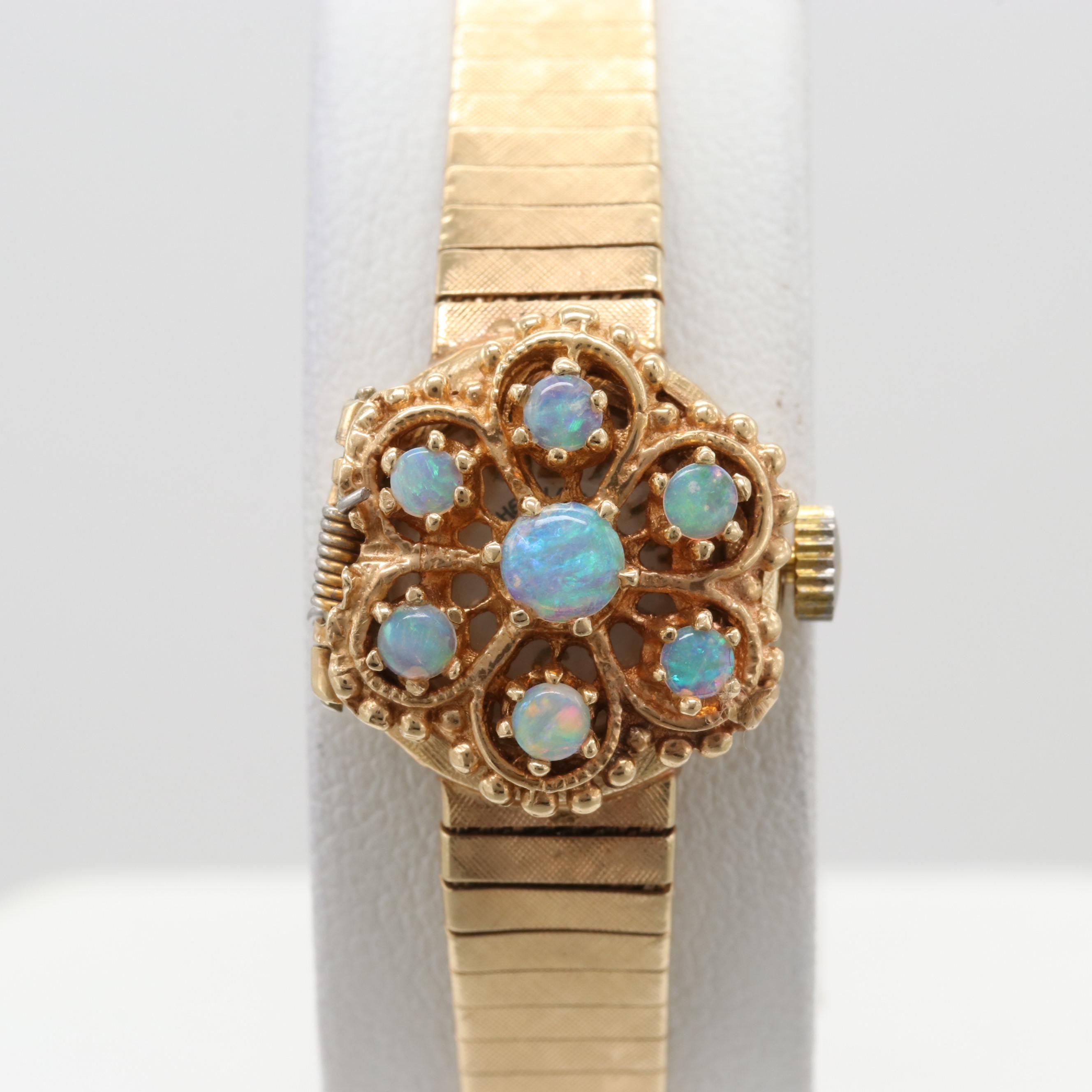 Heirloom 14K Yellow Gold Opal Stem Wind Wristwatch With Hidden Dial