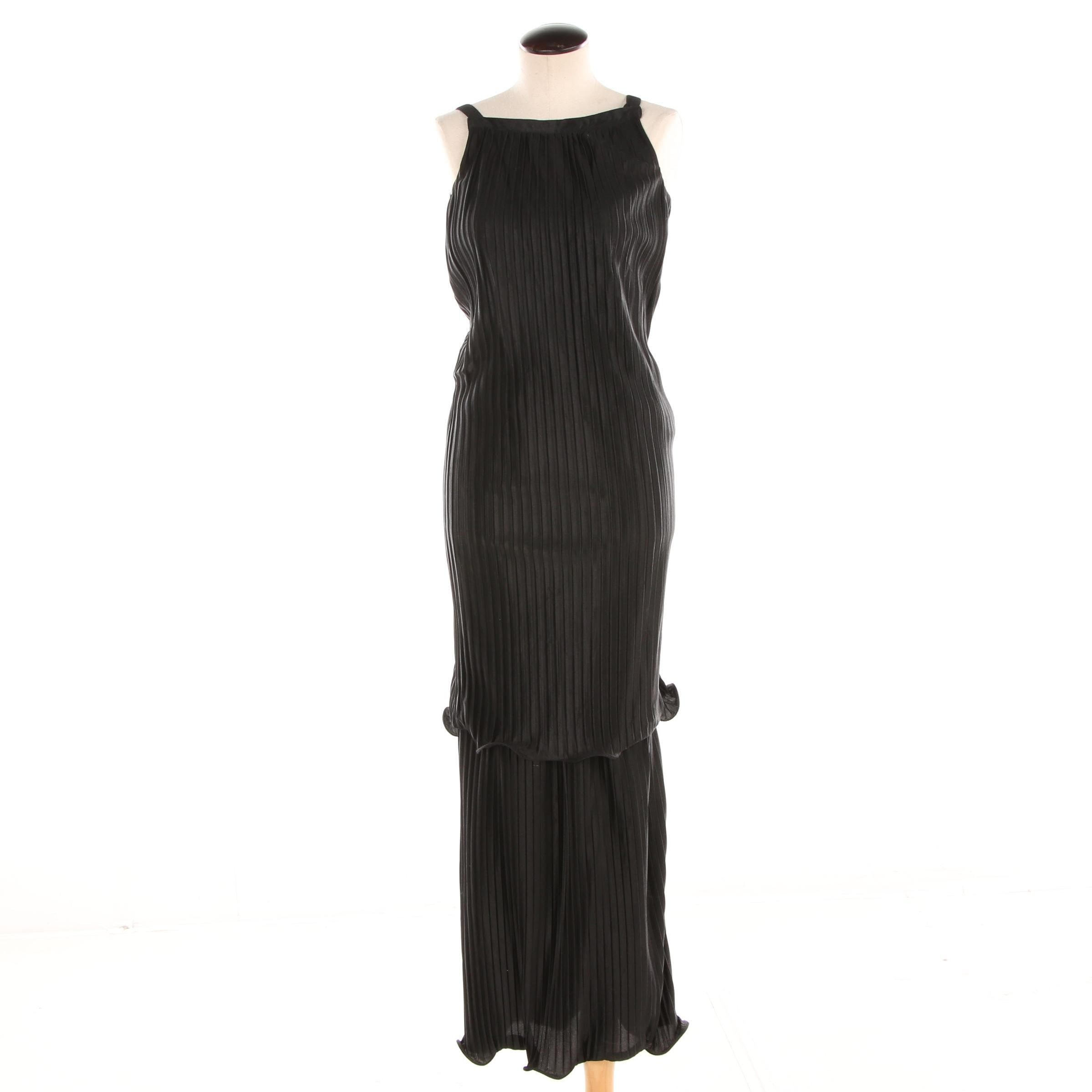 Circa 1970s Courréges Paris Black Plisse Overlay Sleeveless Maxi Dress