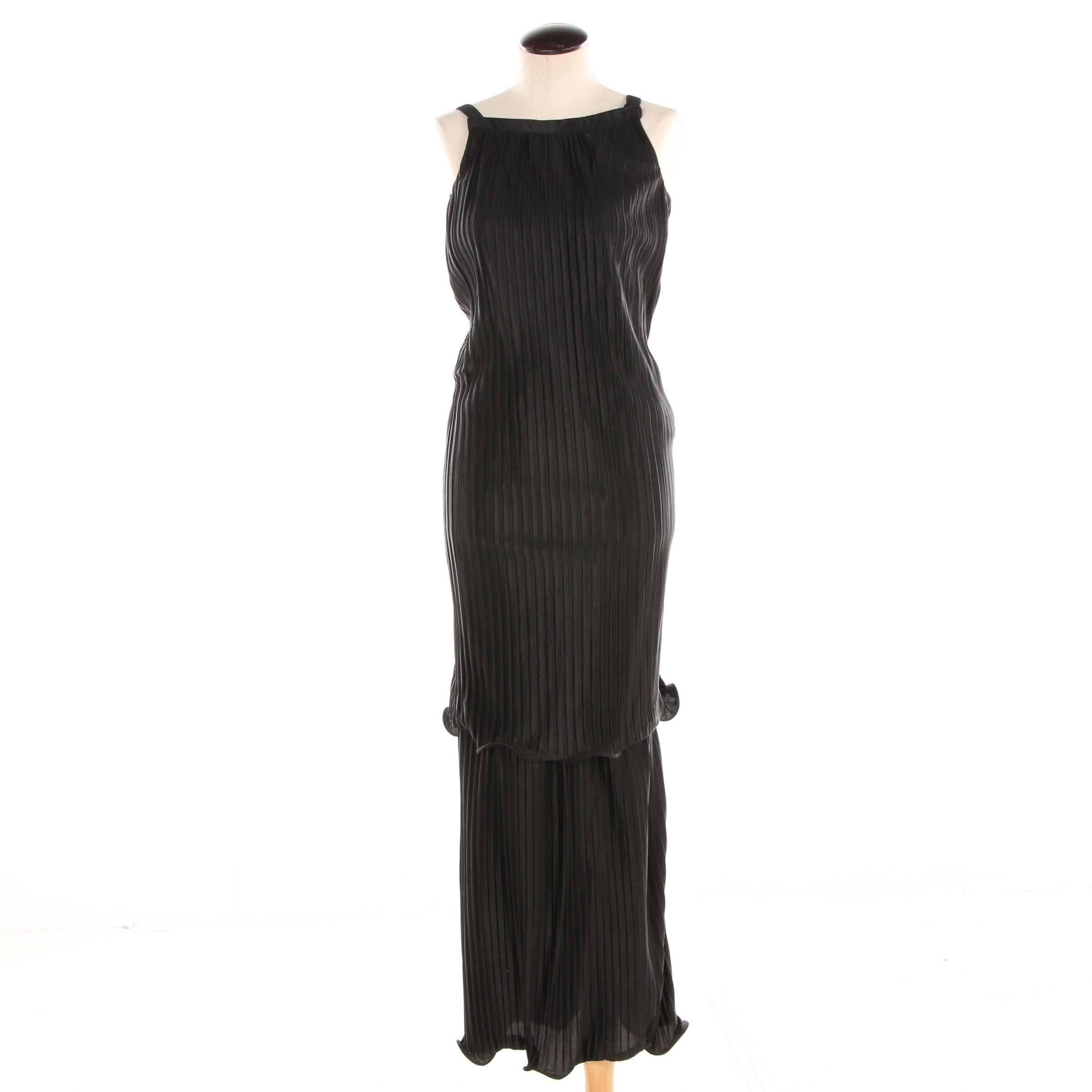 Circa 1970s Courréges Paris Black Plisse Overlay Sleeveless Maxi Dress