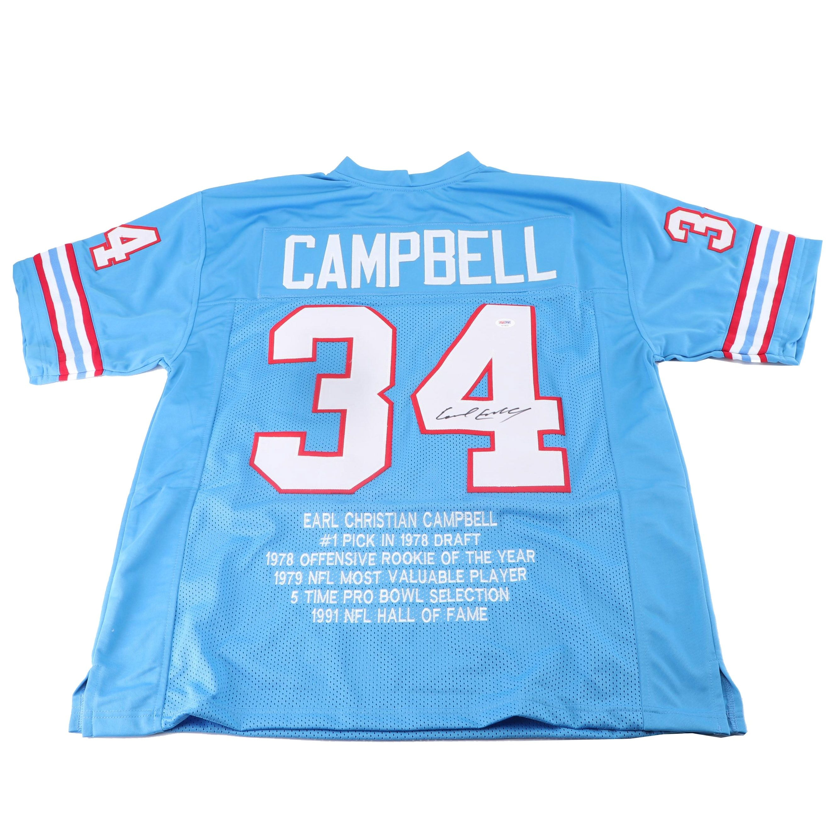Earl Campbell Autographed Houston Oilers Stats Jersey - PSA/DNA COA