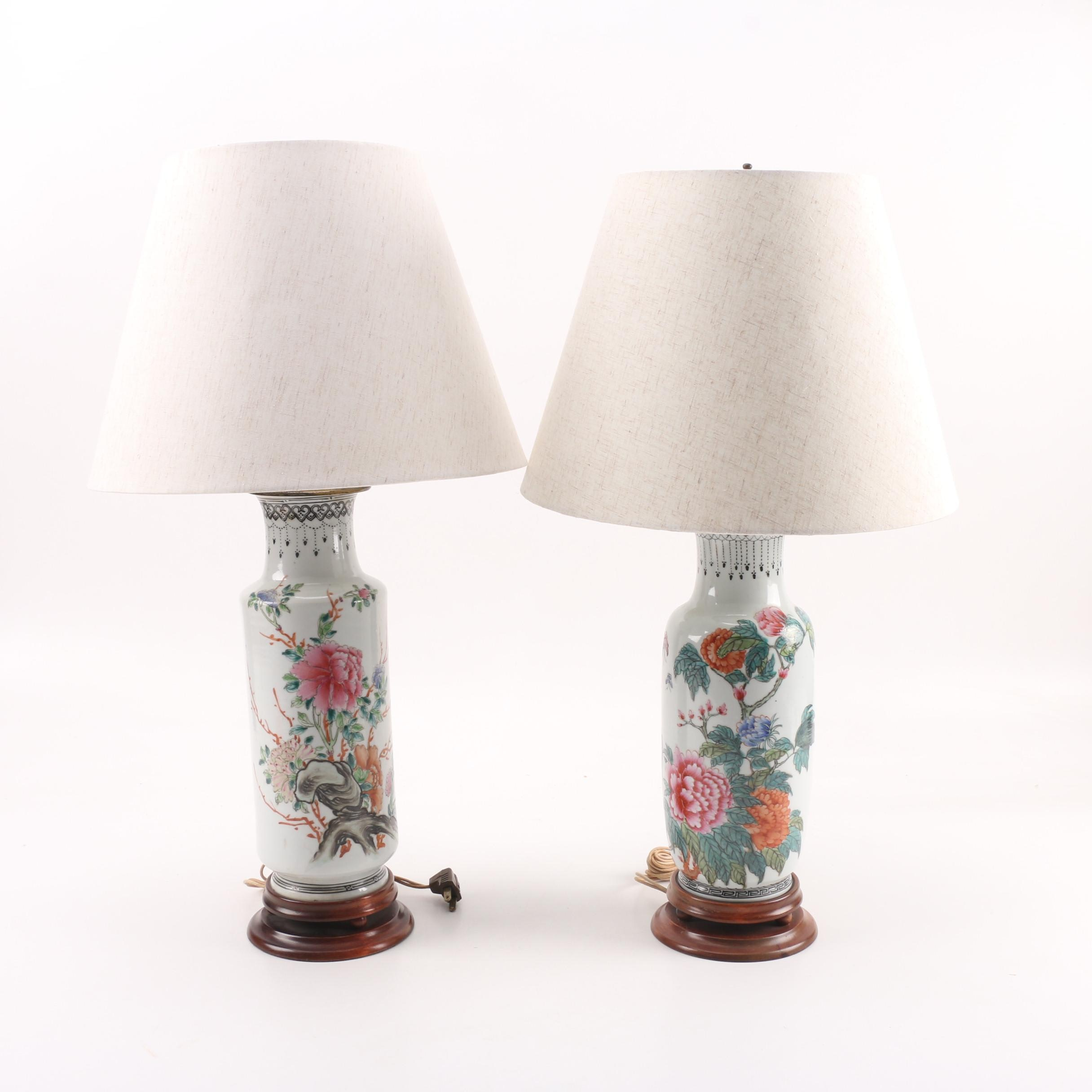 Republic Period Chinese Porcelain Lamps