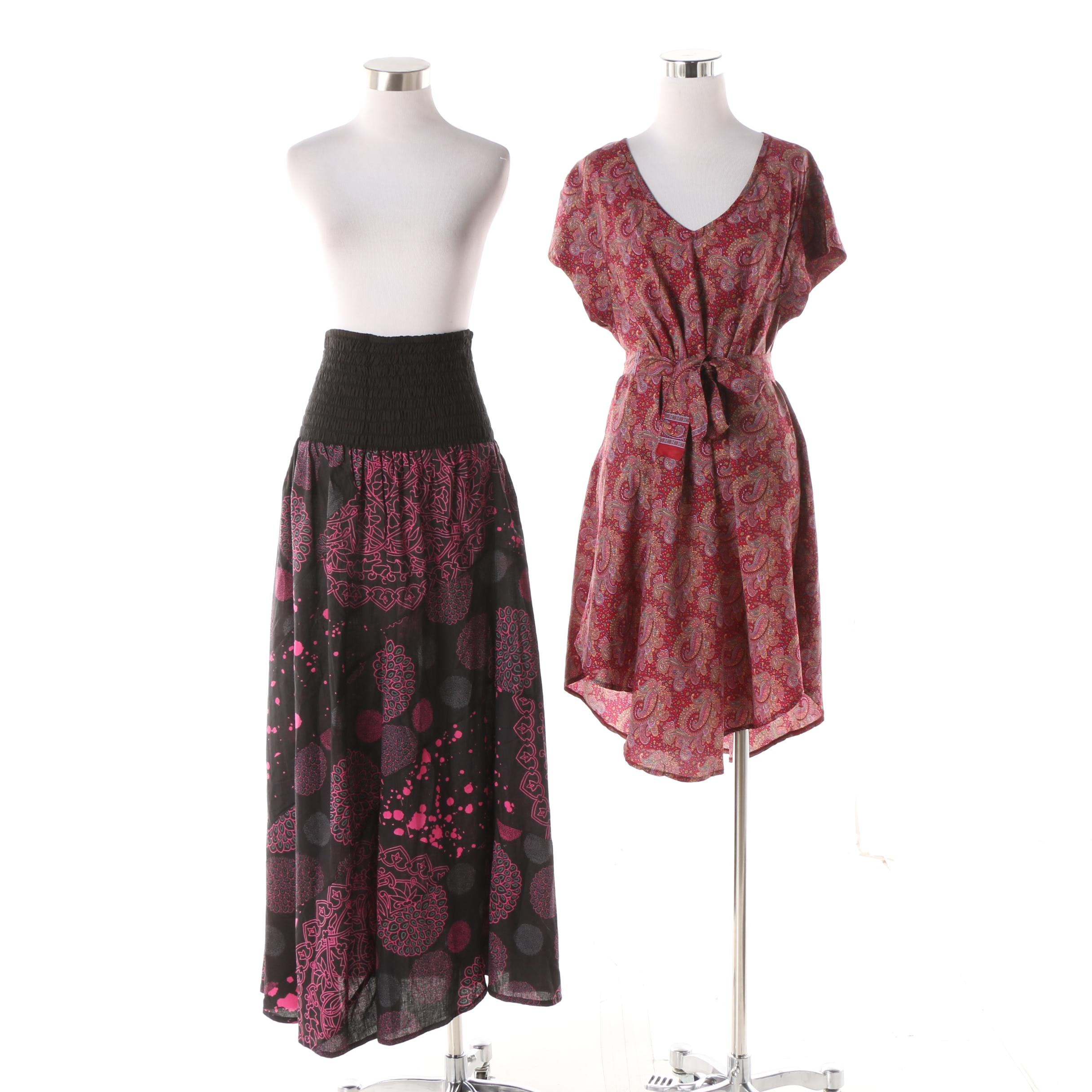 Aller Simplement Purple Prints Tunic Top and Maxi Skirt / Strapless Dress