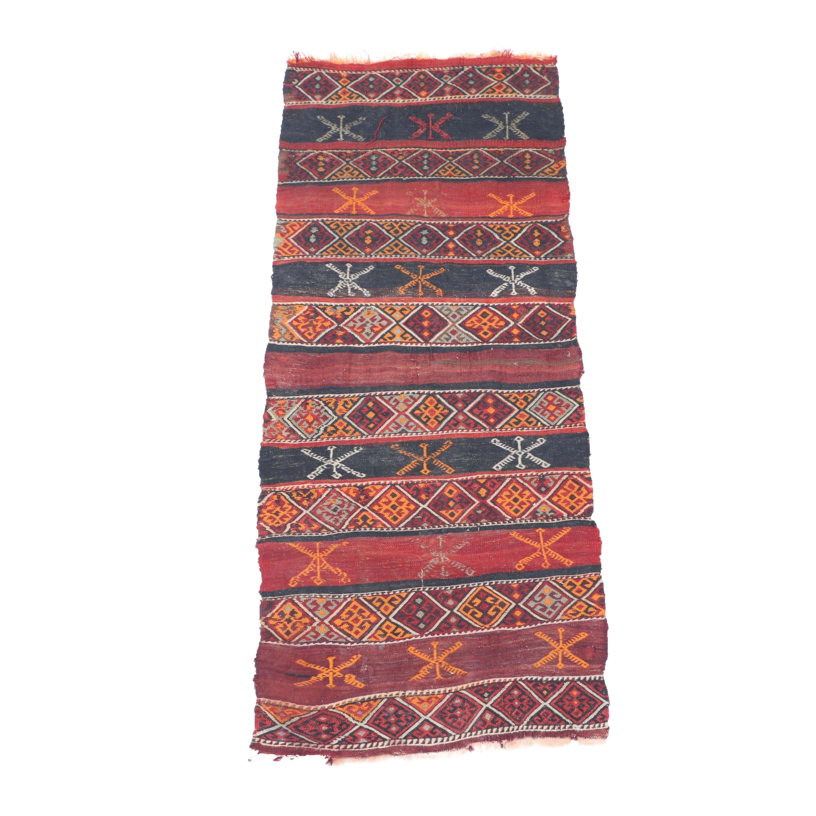 Handwoven and Embroidered Kurdish Jaff Carpet Runner