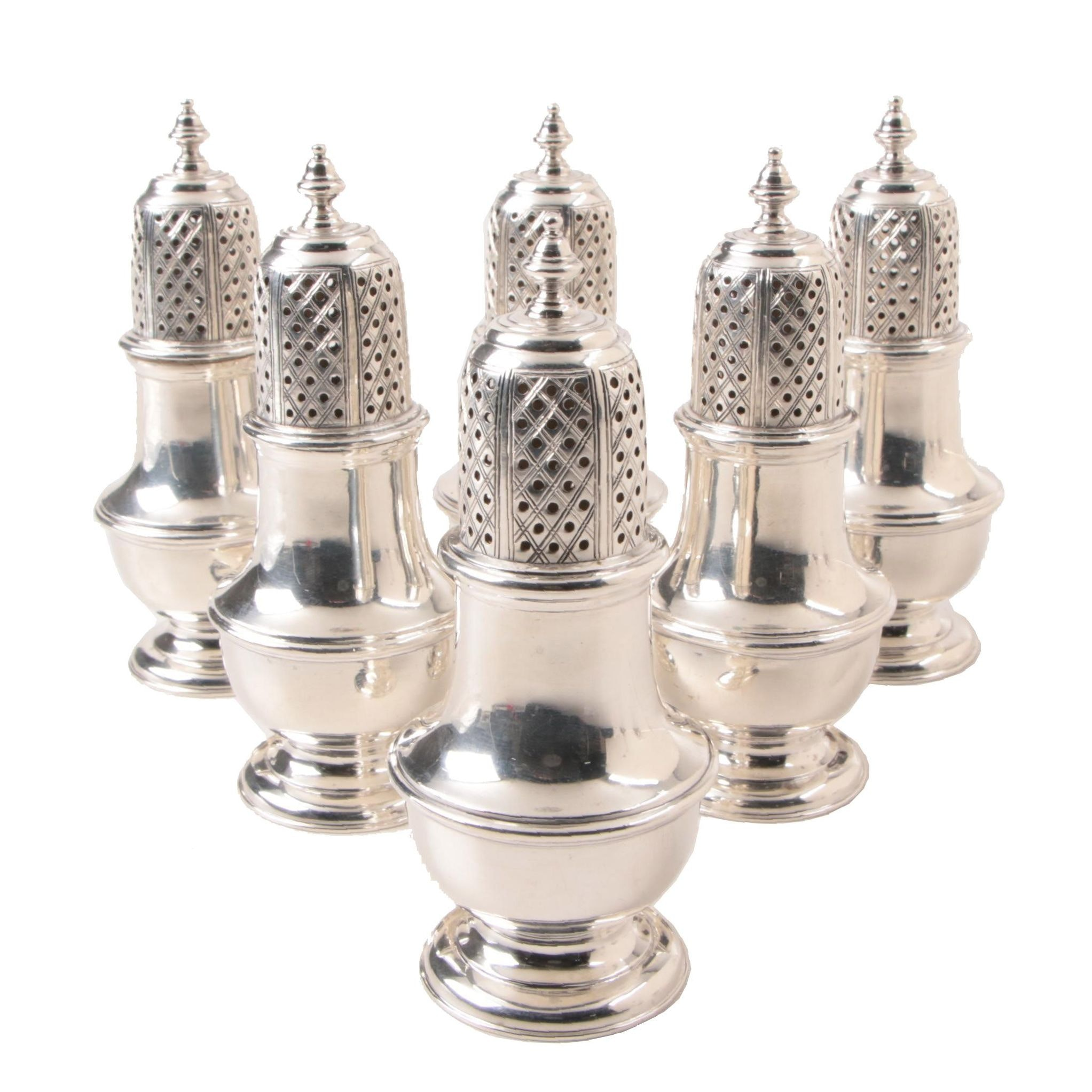 Six James Robinson INC Sterling Silver Salt and Pepper Shakers, Circa 1972