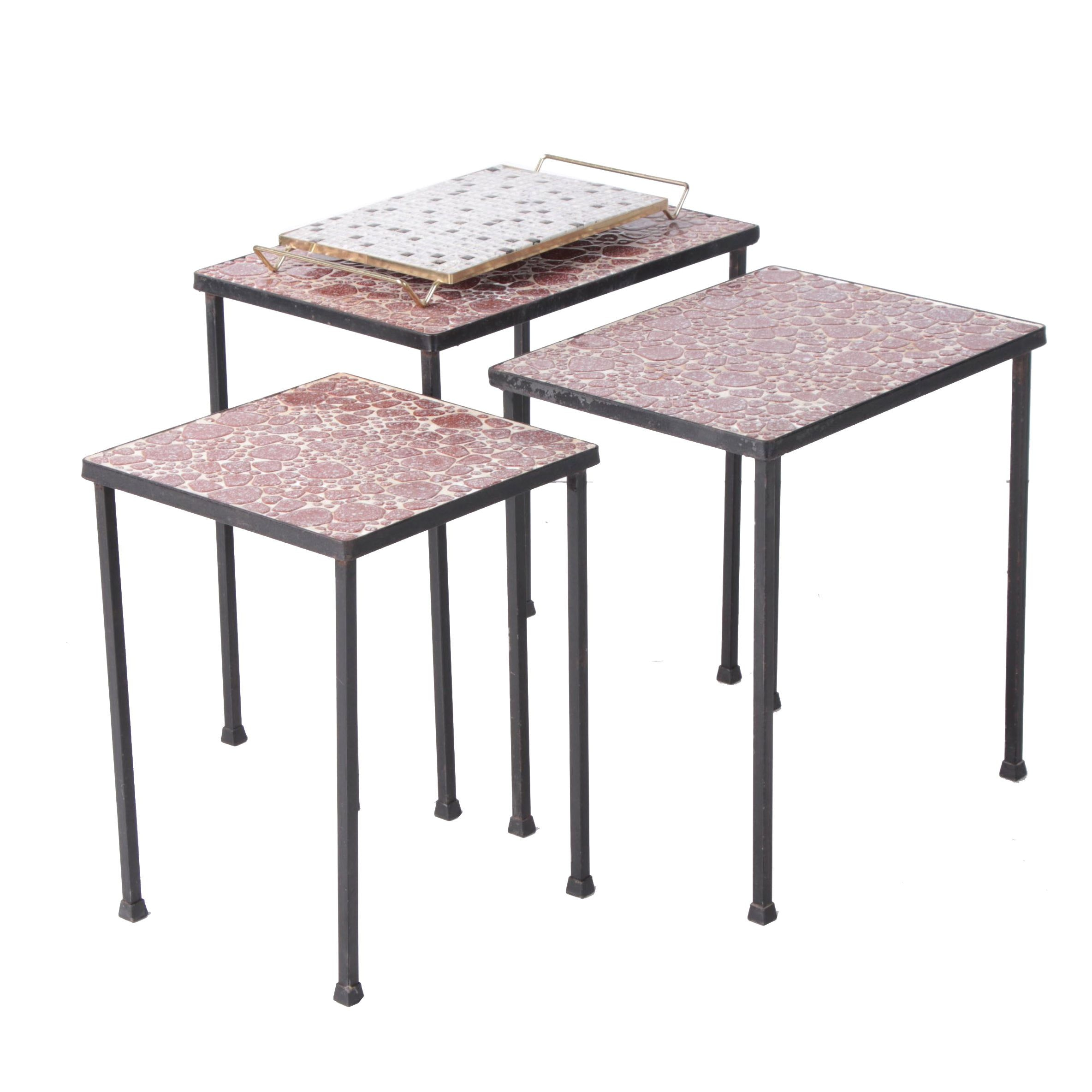 Modern Ceramic Mosaic Topped Nesting Tables and Tray, Mid 20th Century