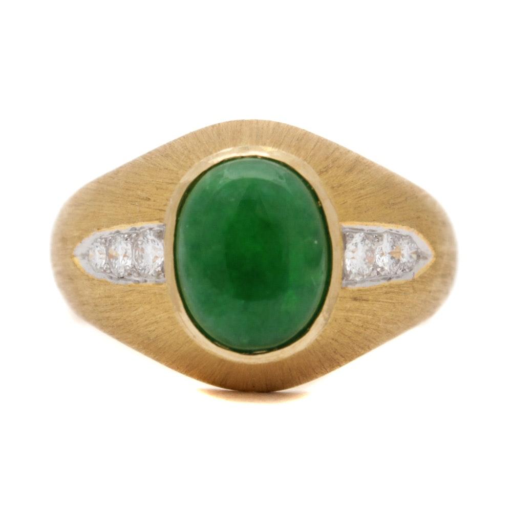 18K Yellow Gold Jadeite Diamond Ring