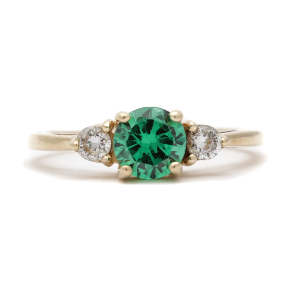 14K Yellow Gold Green and Clear Cubic Zirconia Ring