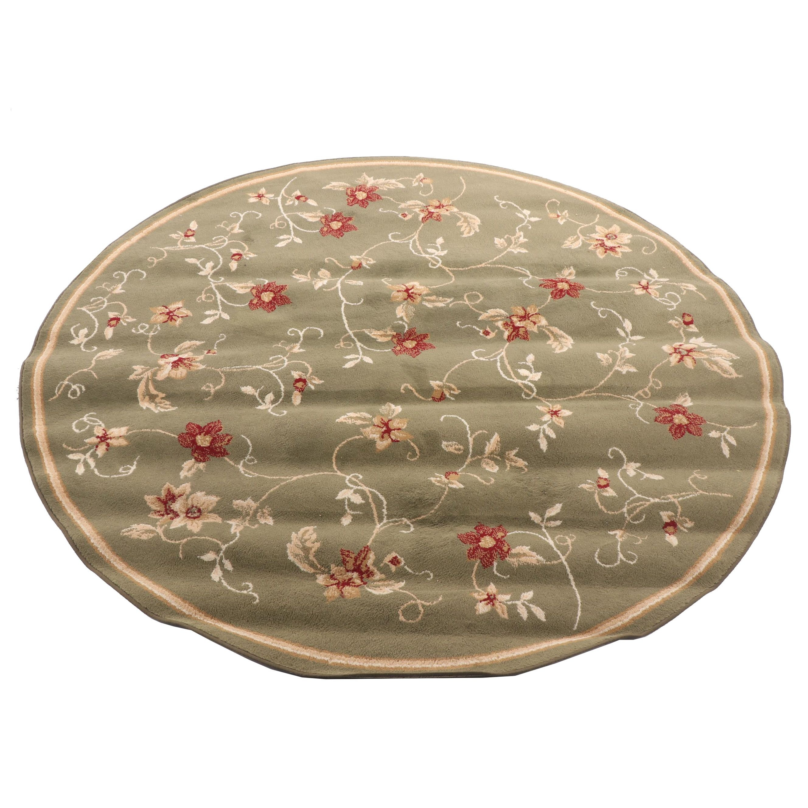 Power-Loomed Floral Round Wool Area Rug