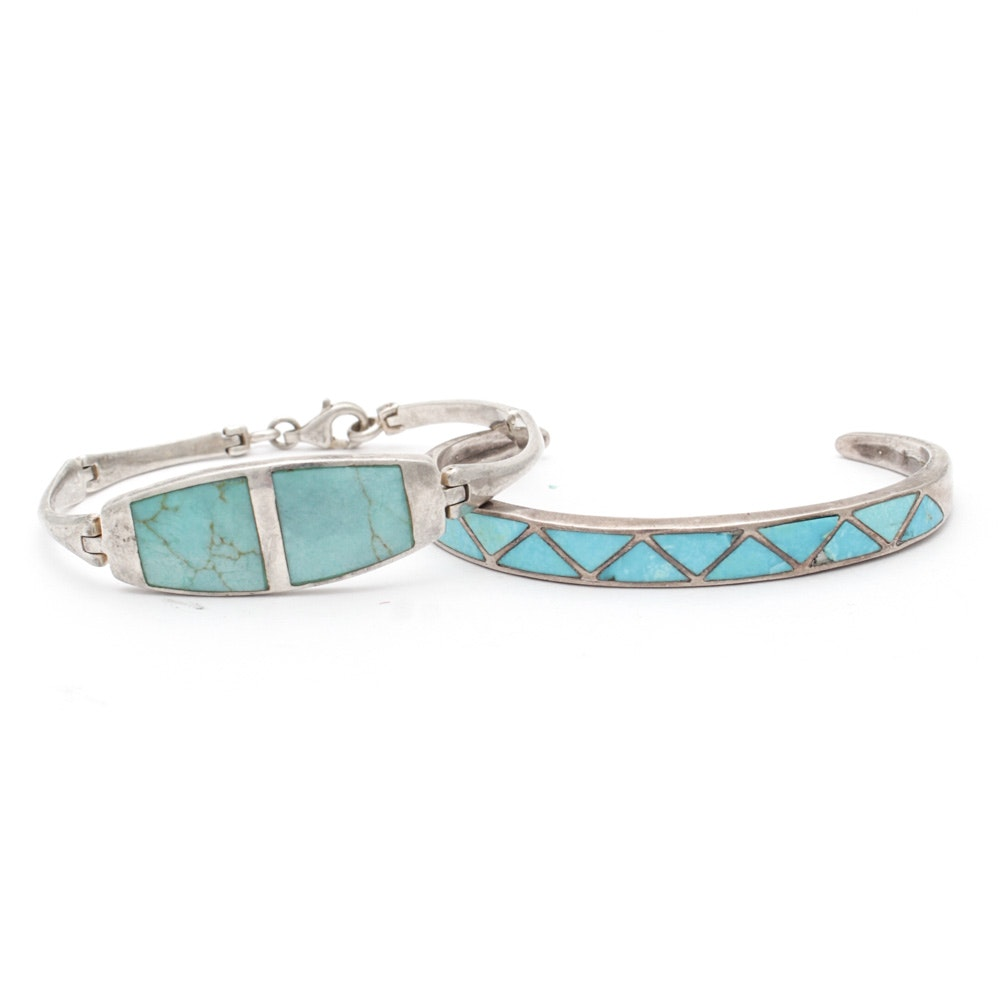 Sterling Silver Dyed Turquoise Bracelets
