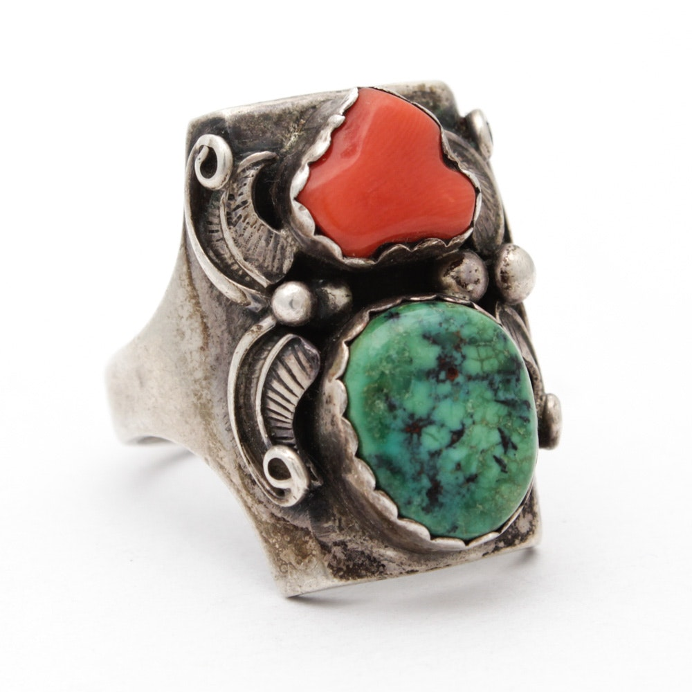 Sterling Silver Dyed Turquoise and Coral Ring