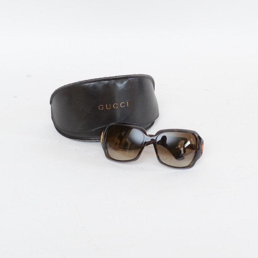 ef6fb70418 Gucci Tortoise-Style Bamboo Horsebit GG 2969 S Sunglasses   EBTH