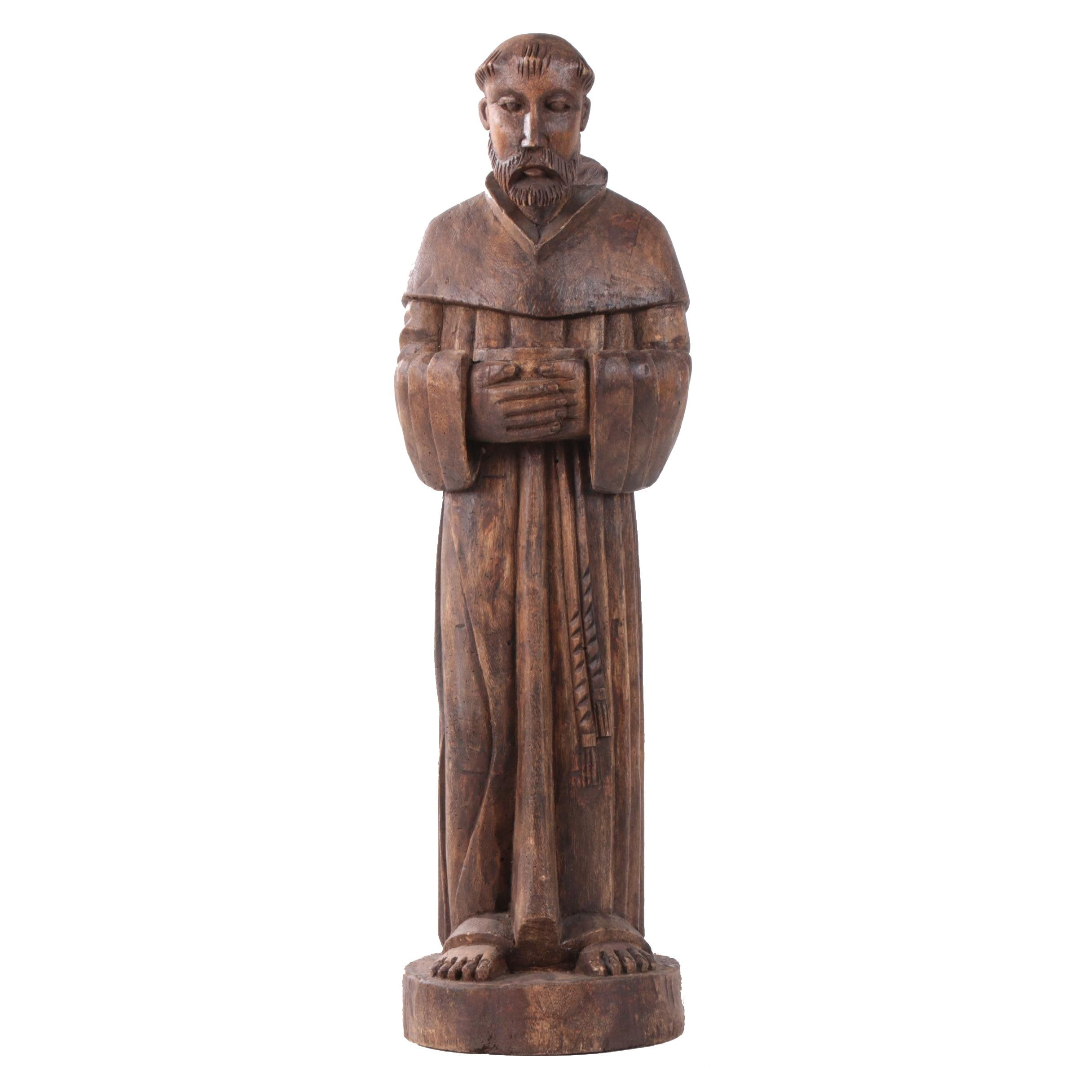Hand-Carved Wood Sculpture of a Franciscan Friar