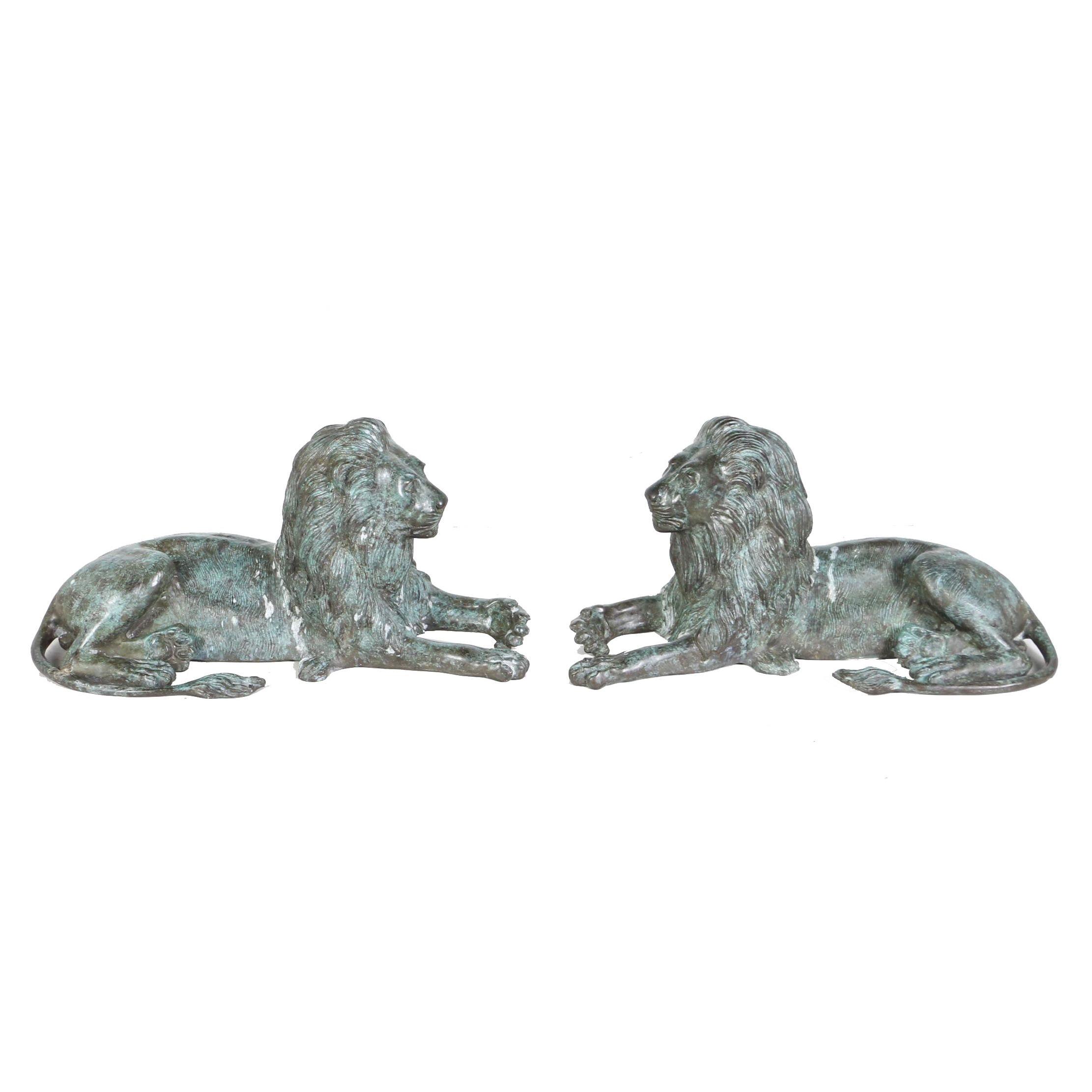 20th Century Patinated Brass Lion Sculptures