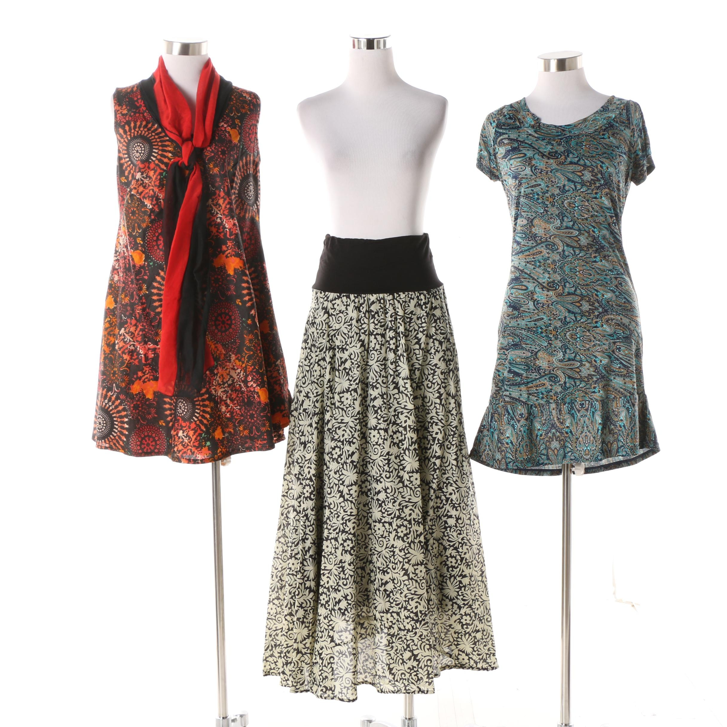 Aller Simplement Paisley Stretch Dress, Filigree Maxi Skirt and Mandala Tunic