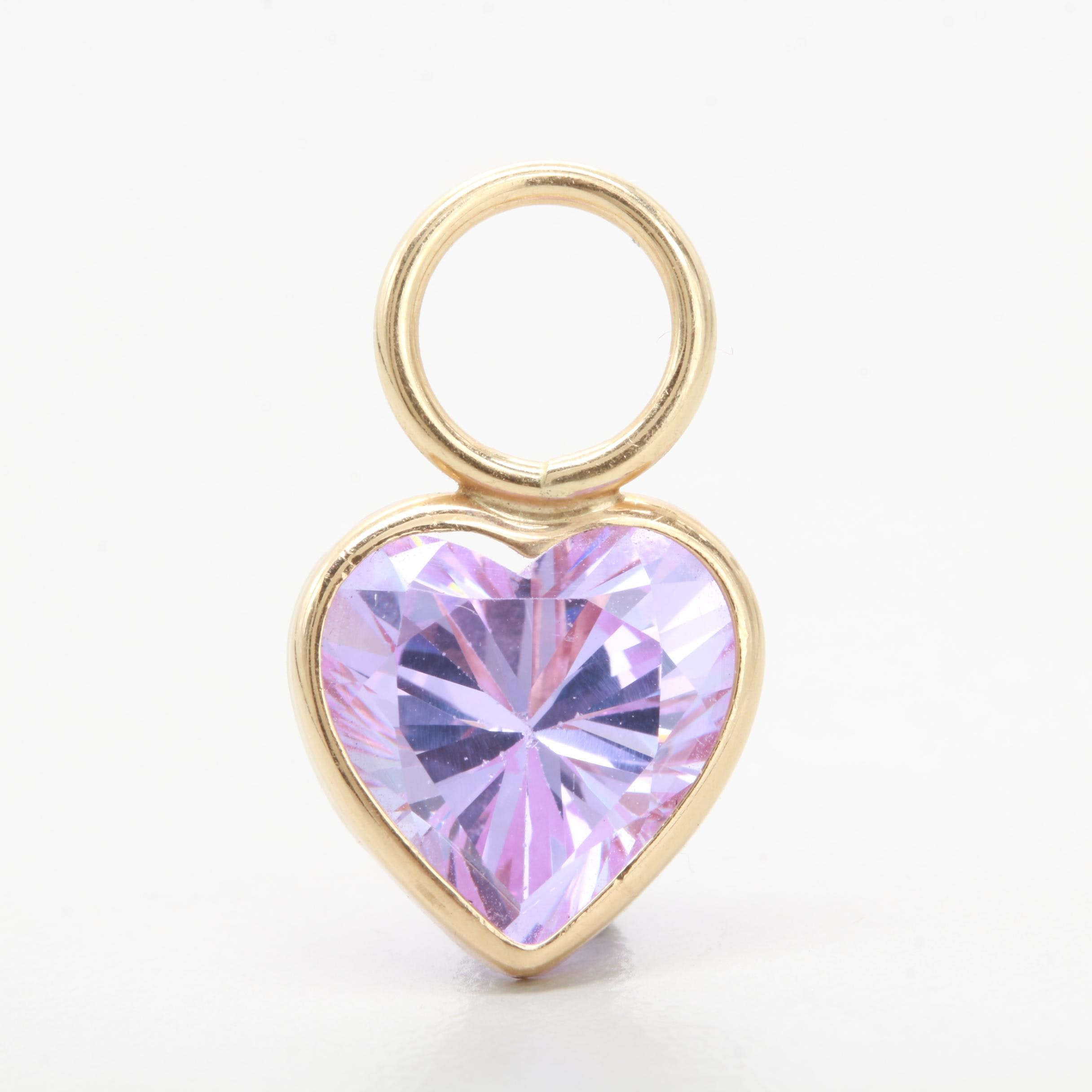 14K Yellow Gold Cubic Zirconia Heart Pendant