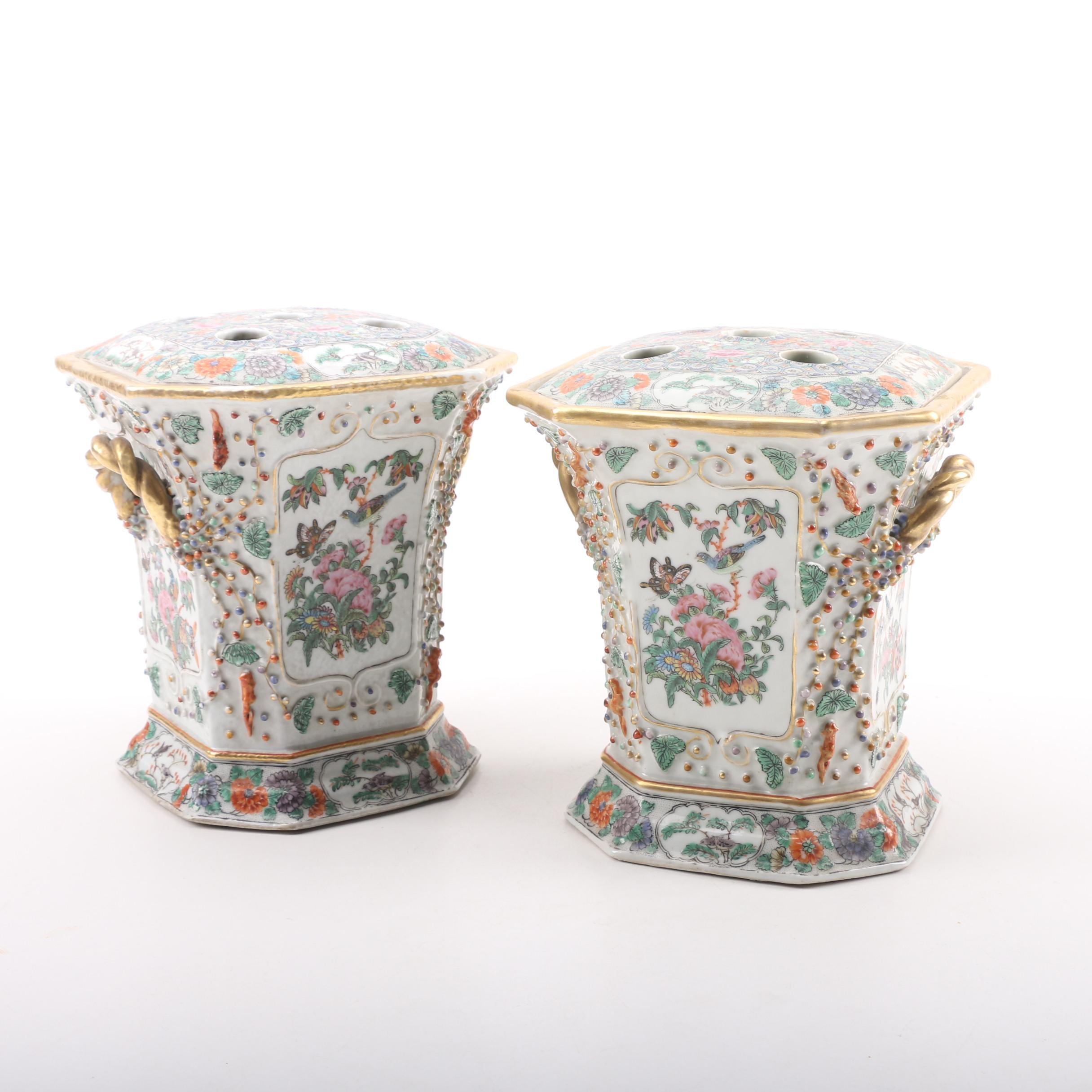 """Late Qing """"Rose Canton"""" Porcelain Bough Pots"""