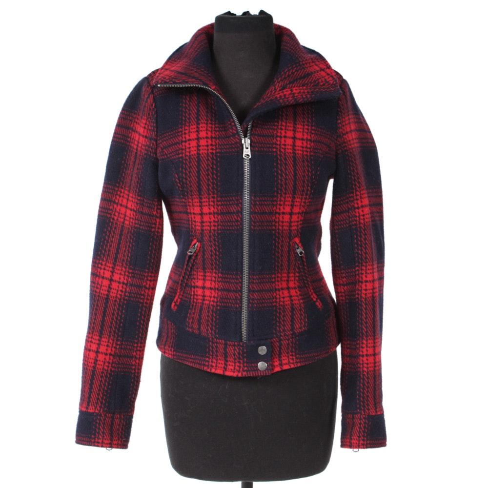 Women's Abercrombie & Fitch New York Buffalo Check Wool Zipper-Front Jacket