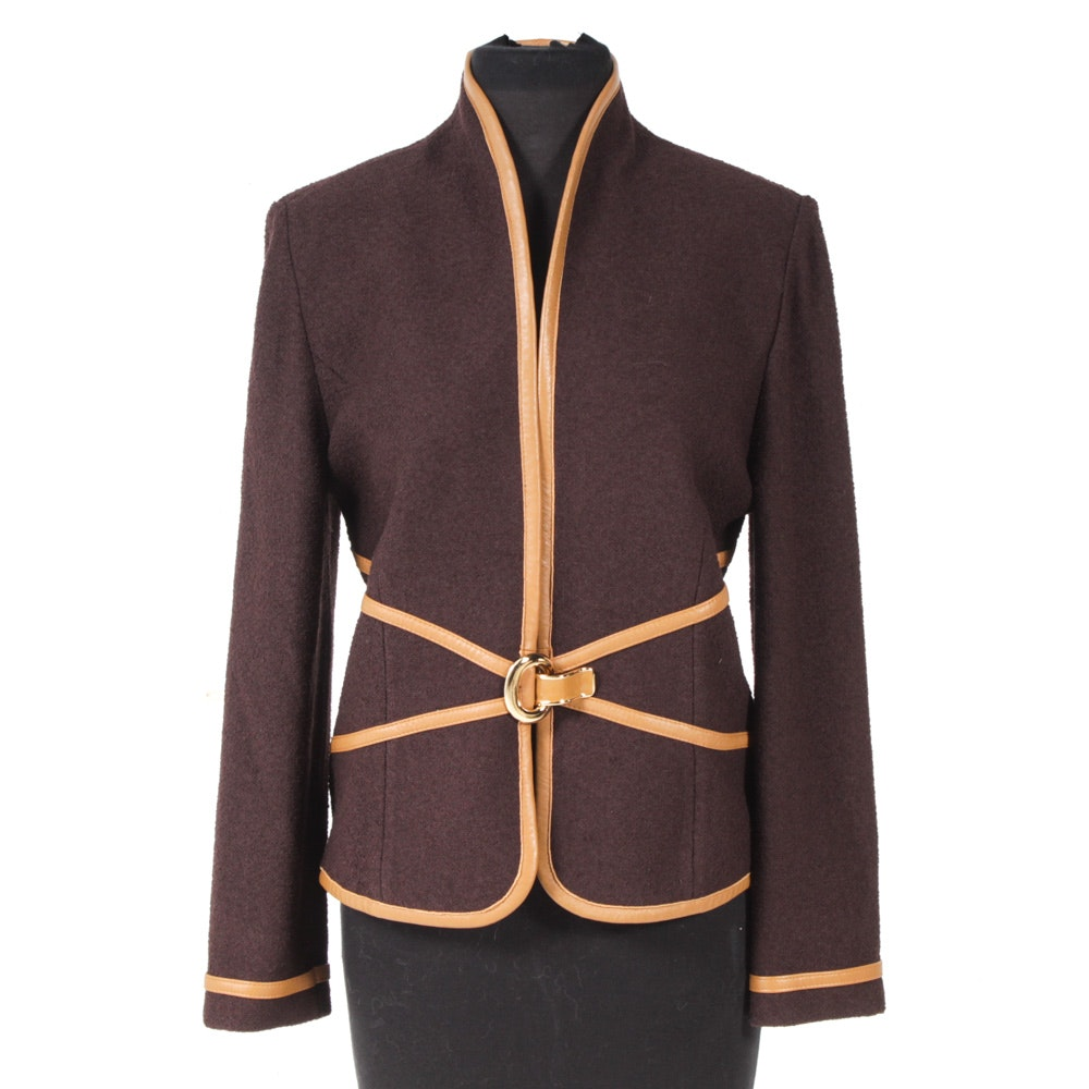 St. John Collection By Marie Gray Tailored Plum Knit Jacket with Leather Trim