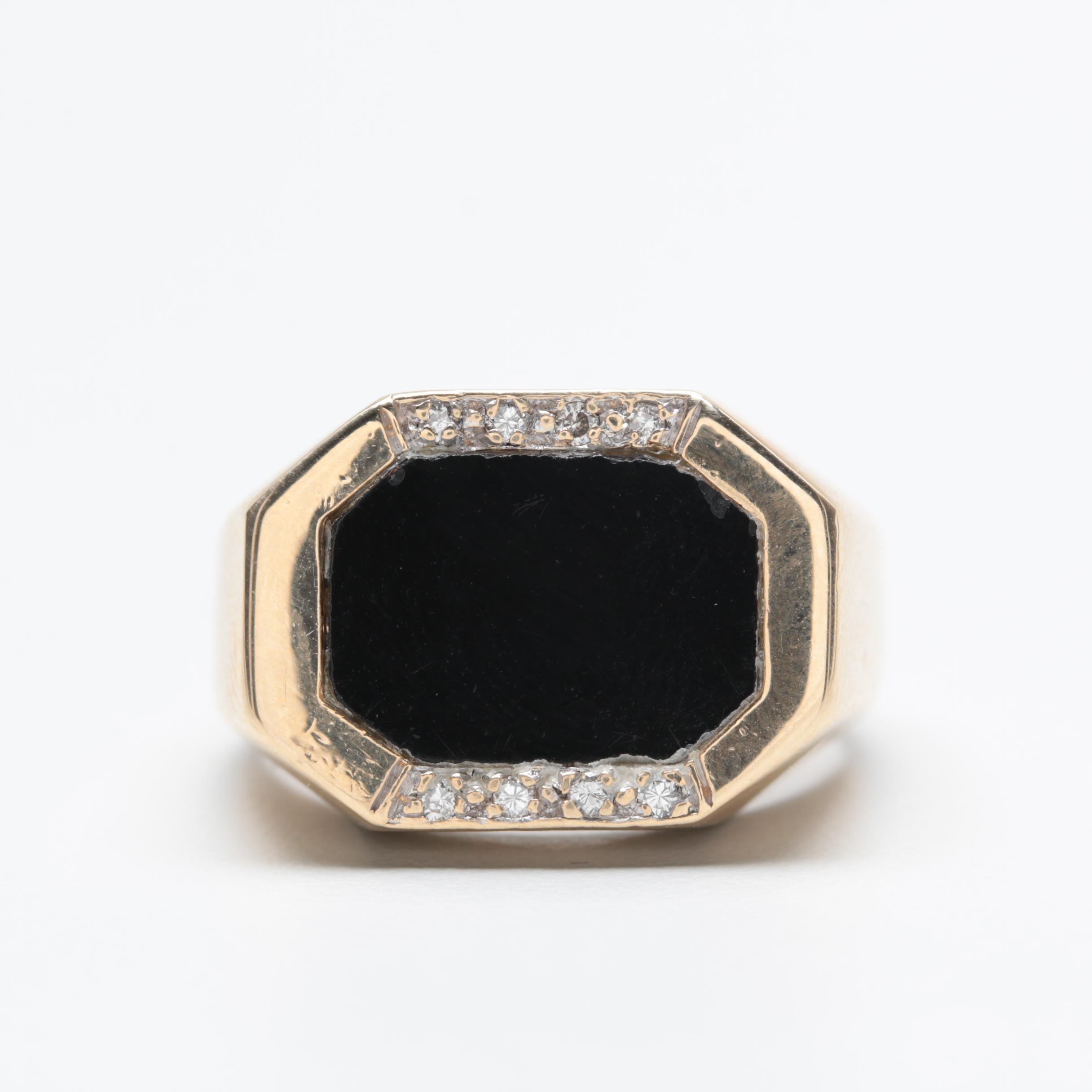 Vintage 14K Yellow Gold Black Onyx and Diamond Ring
