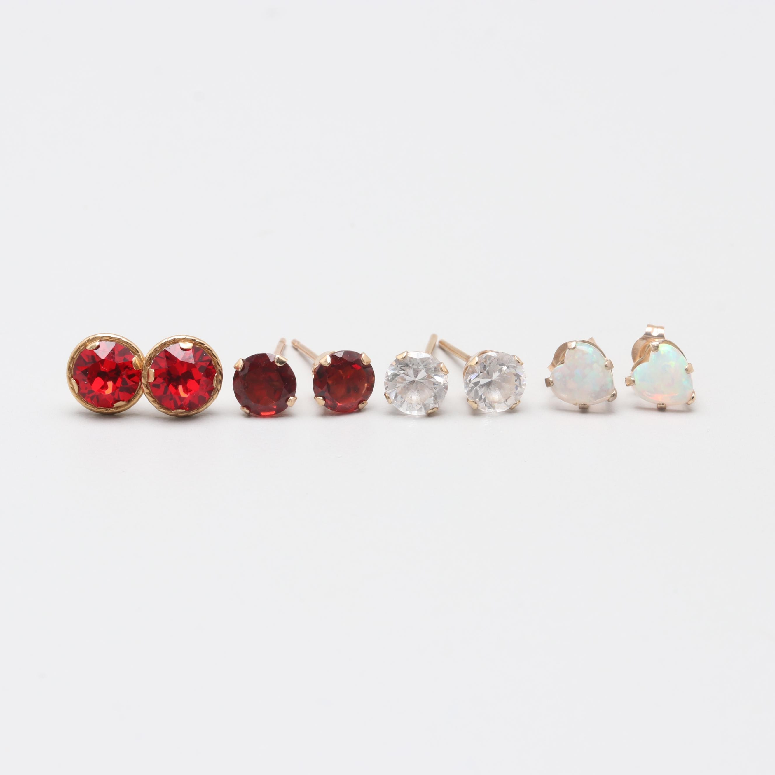 10K Yellow Gold Gemstone Stud Earrings Featuring Synthetic Opal and Garnet