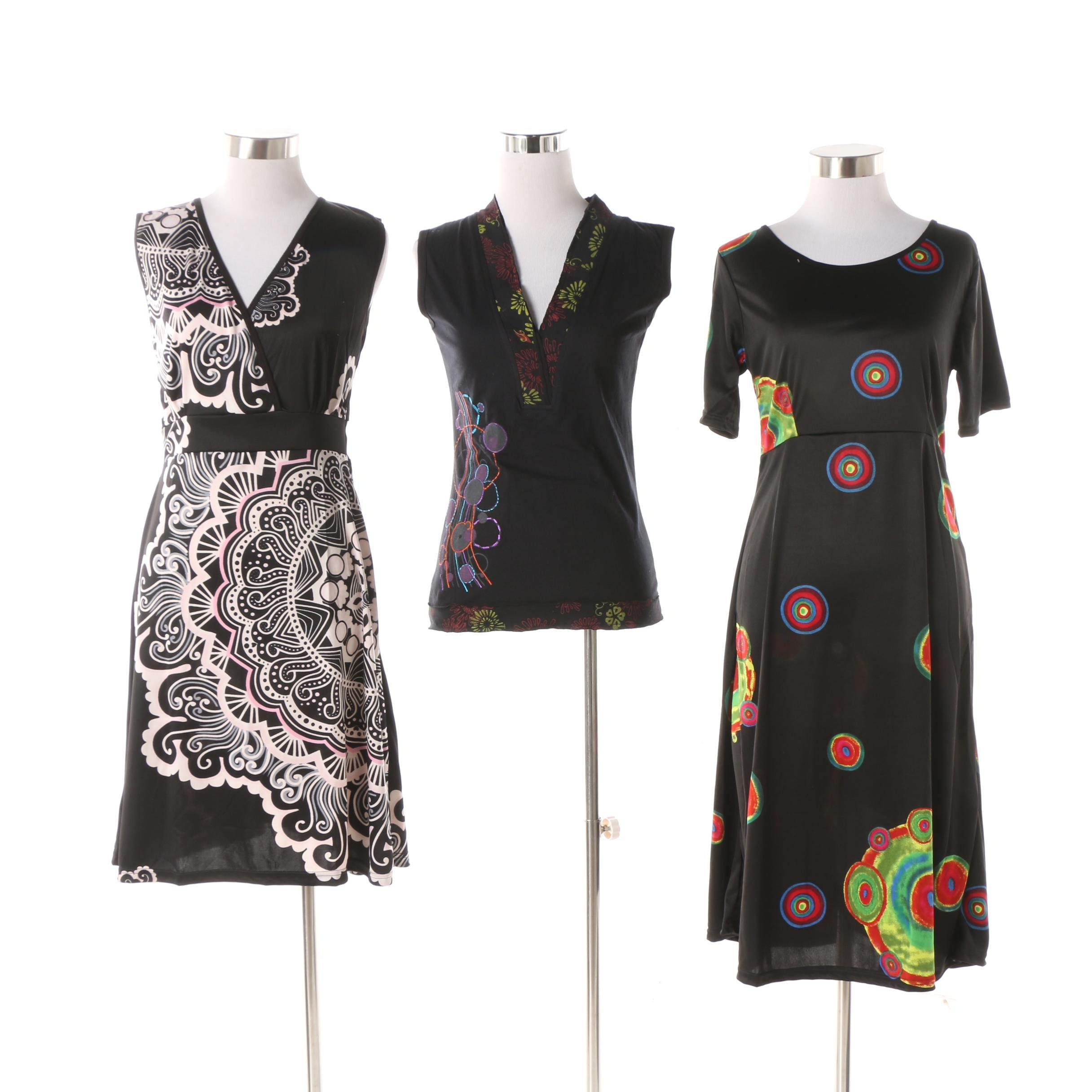 Aller Simplement Medallion and Abstract Stretch Dresses and Top