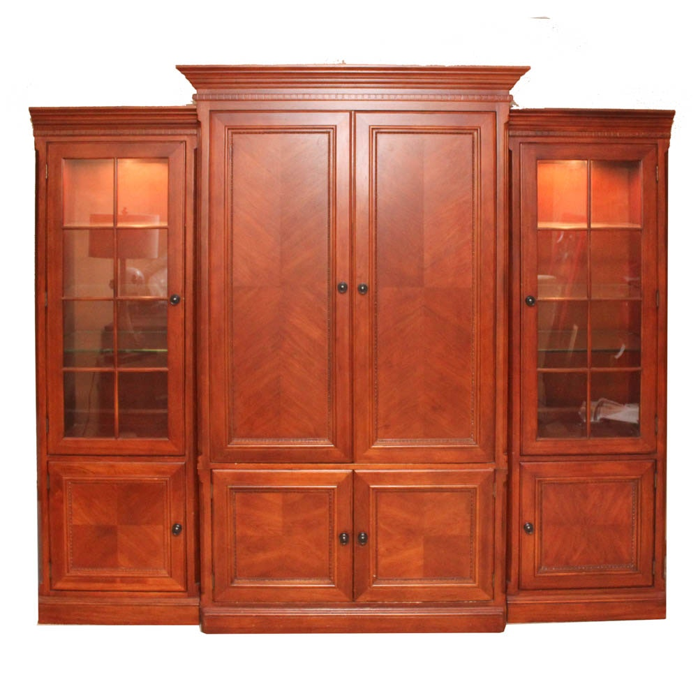 Three Piece Wood Veneer Entertainment and Display Cabinet