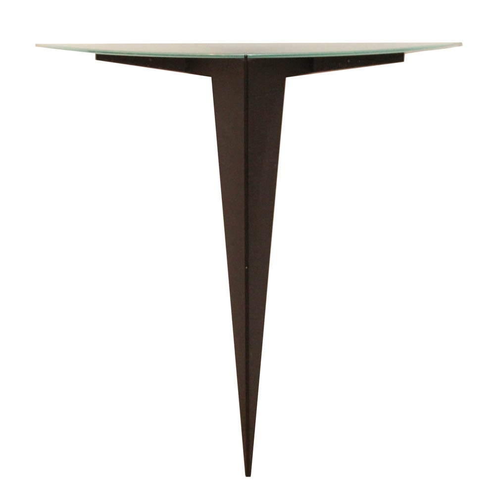 Contemporary Metal and Glass Demilune Wall Table
