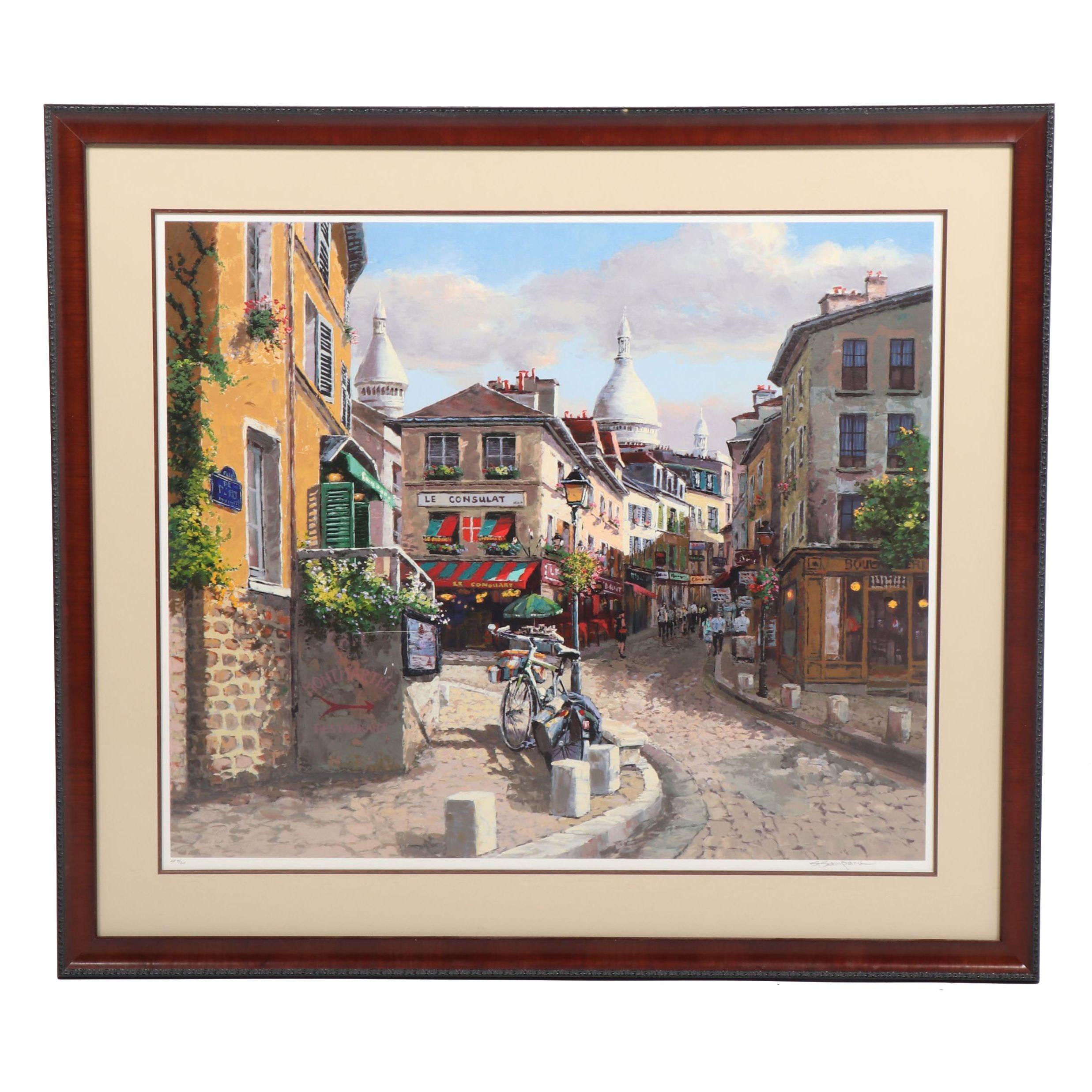 """Sam Park Embellished Serigraph """"Montmartre, Paris"""""""