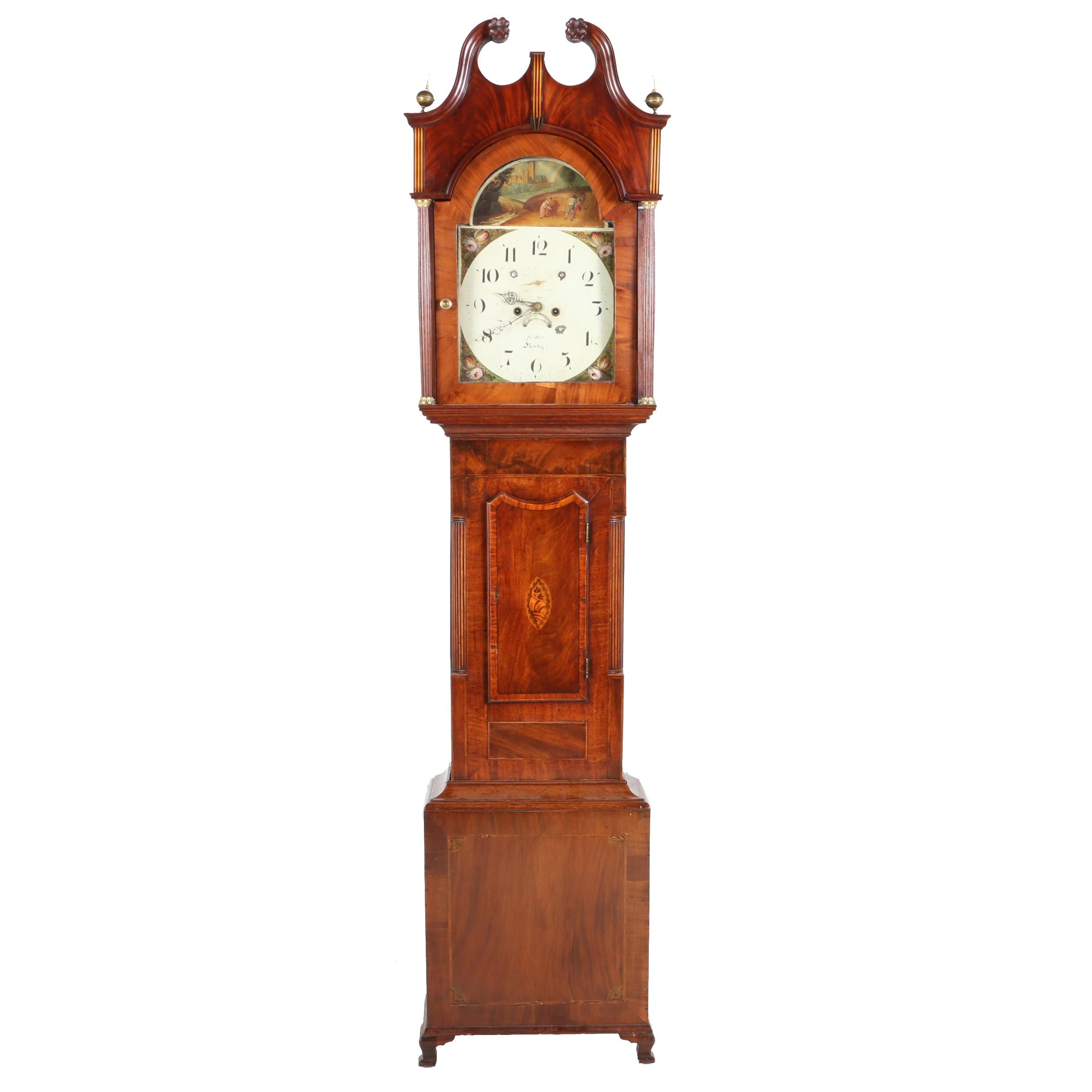 Mahogany and Marquetry Tall Case Clock, John Bell Kirby, 19th Century
