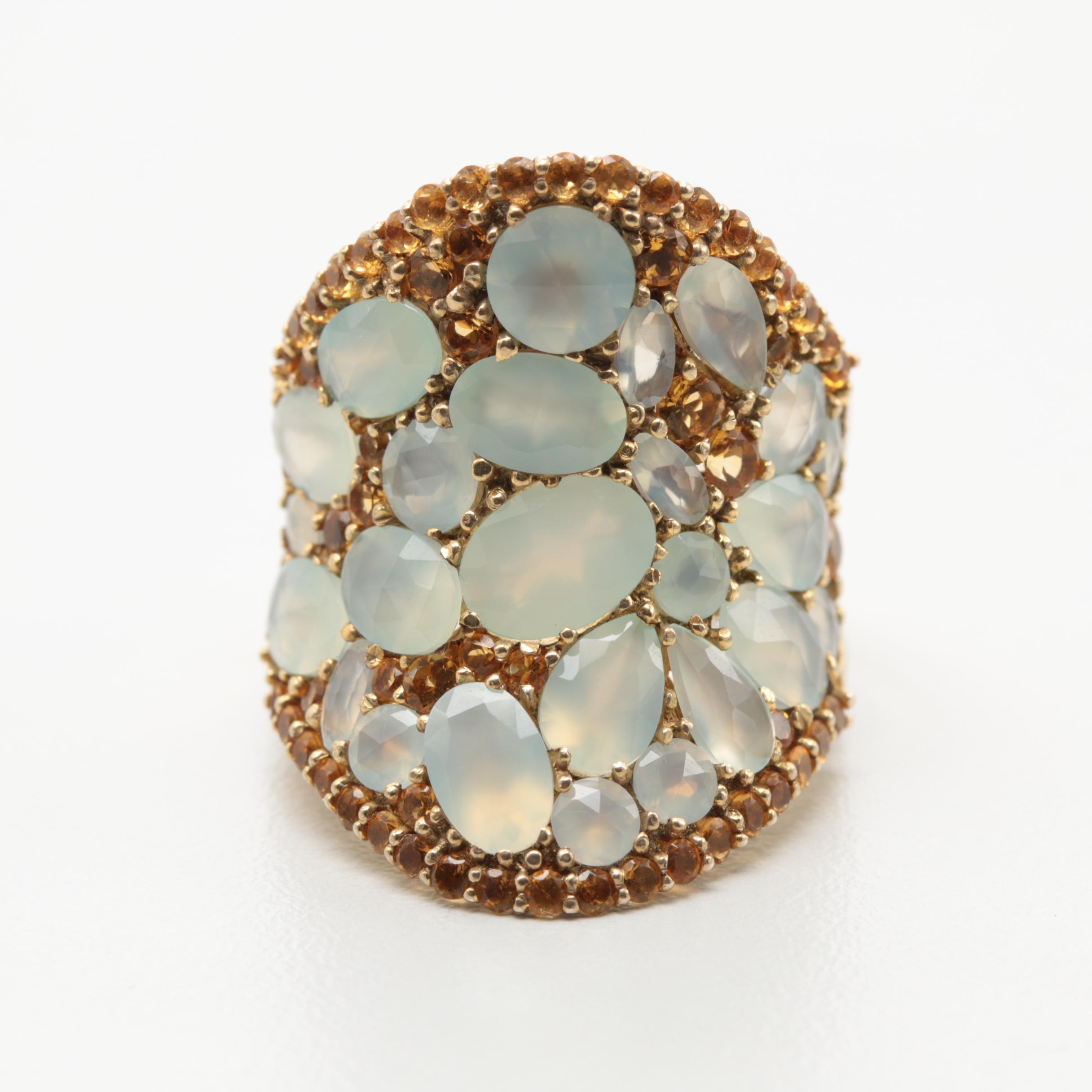 Gold Tone Prehnite and Citrine Ring