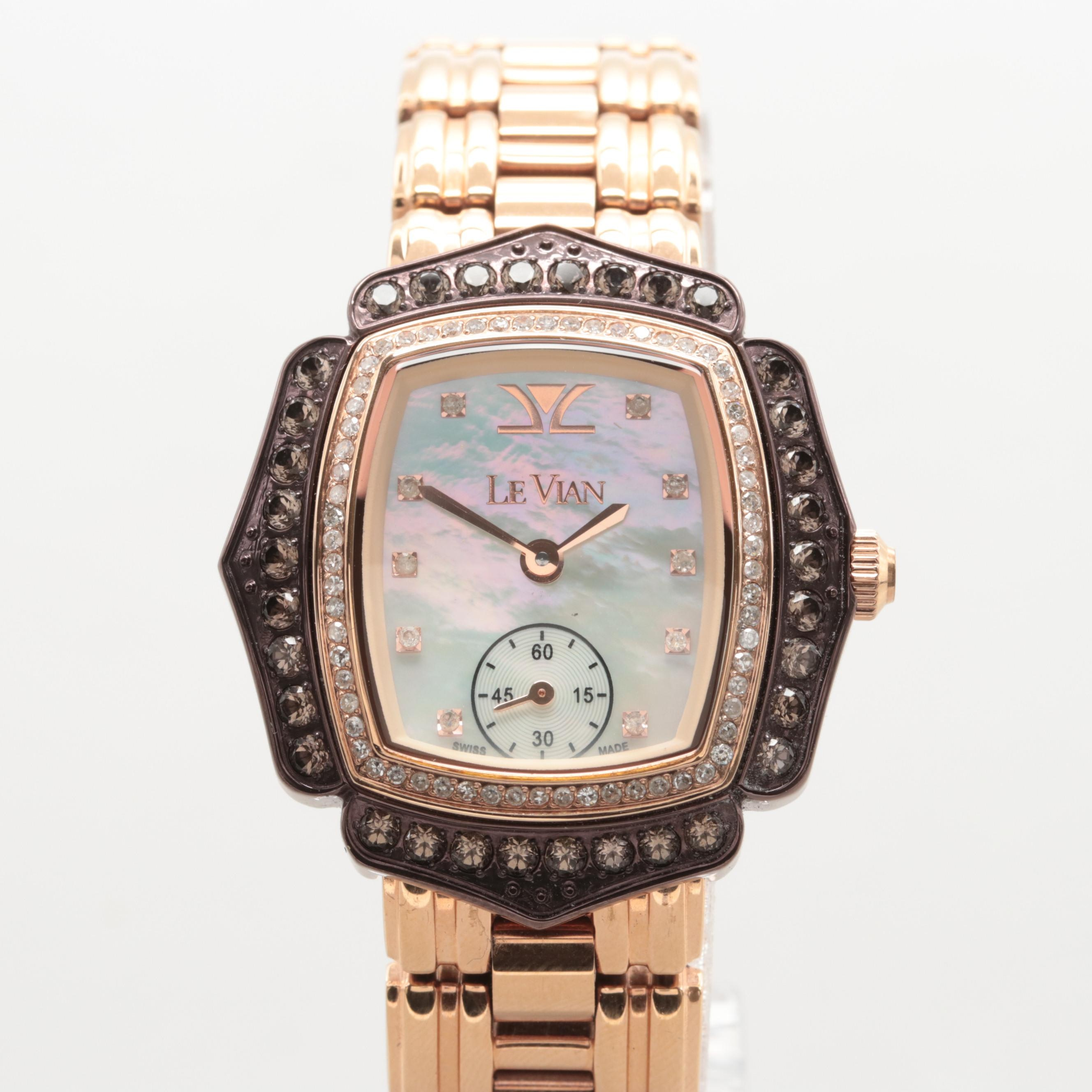 Le Vian Chocolate Quartz, Diamond and Mother of Pearl Wristwatch