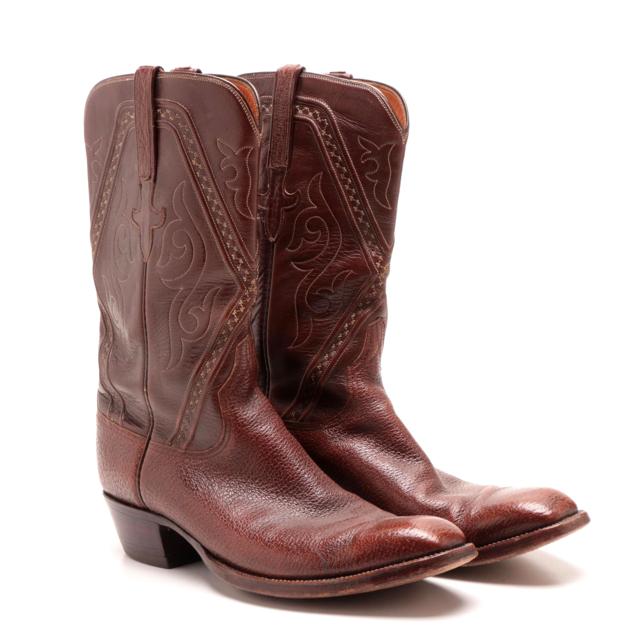 Men's Lucchese Brown Leather Cowboy Boots