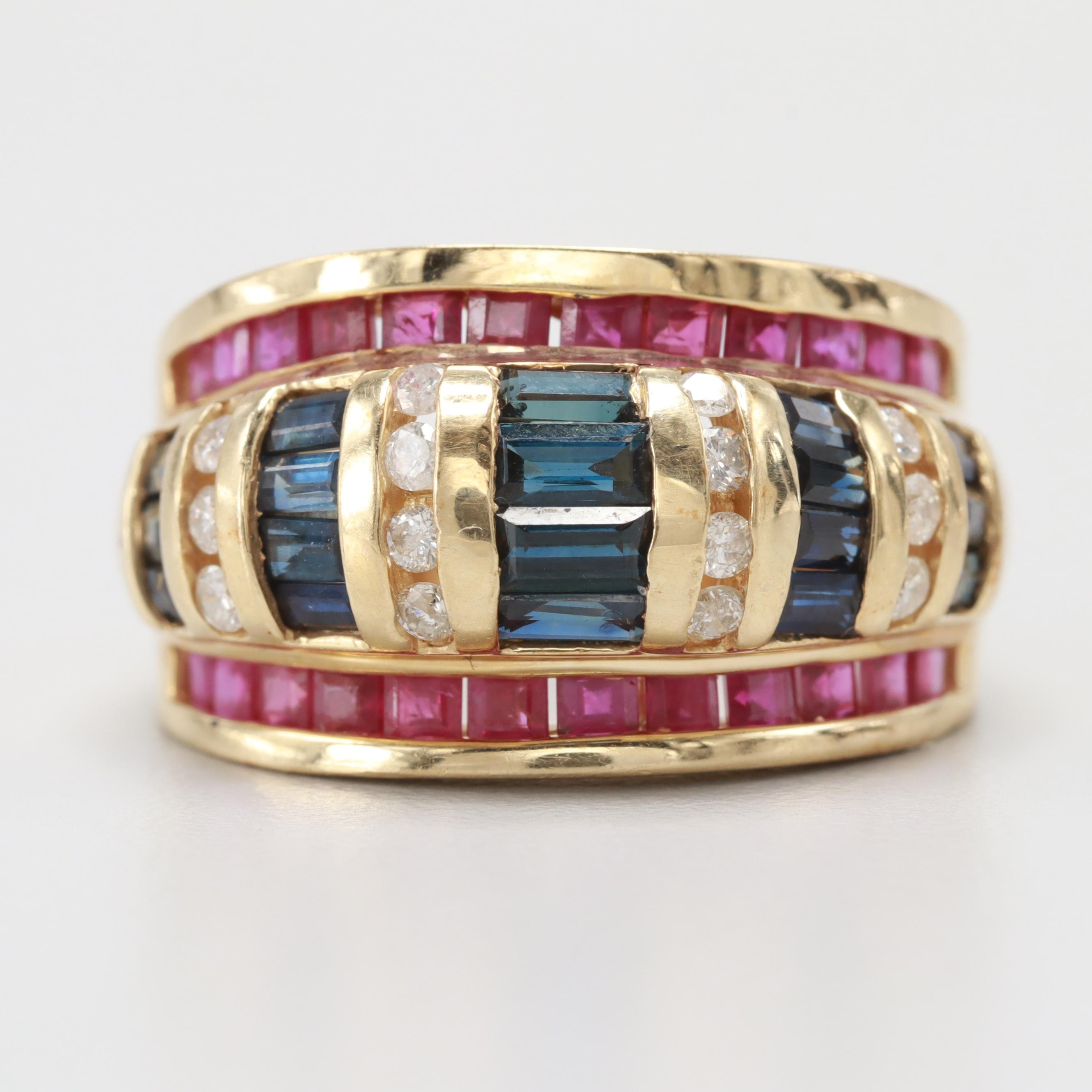 14K Yellow Gold Blue Sapphire, Ruby and Diamond Ring