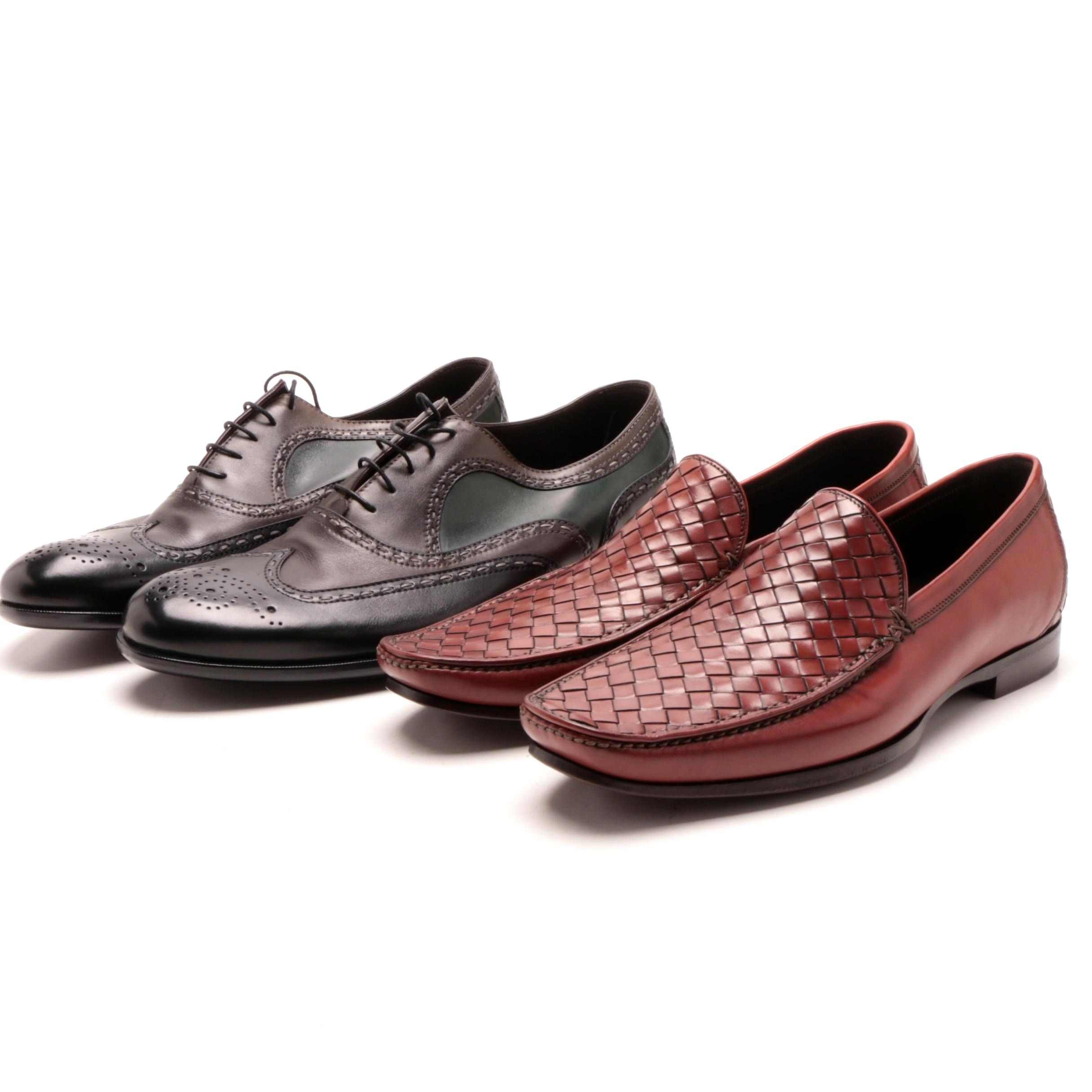 Men's Bottega Veneta Leather Wingtip Oxfords and Loafers
