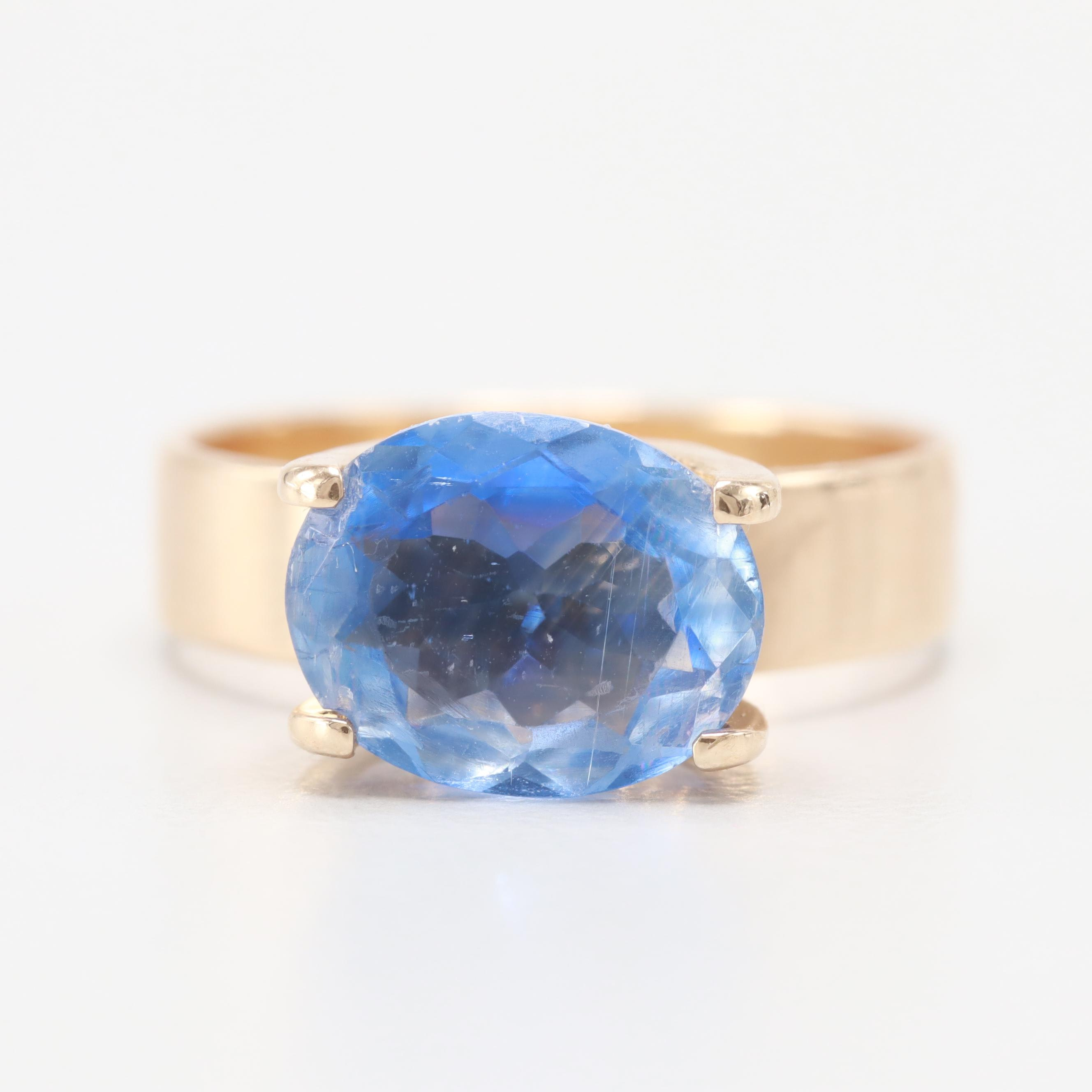 14K Yellow Gold 2.59 CT Blue Sapphire East West Ring
