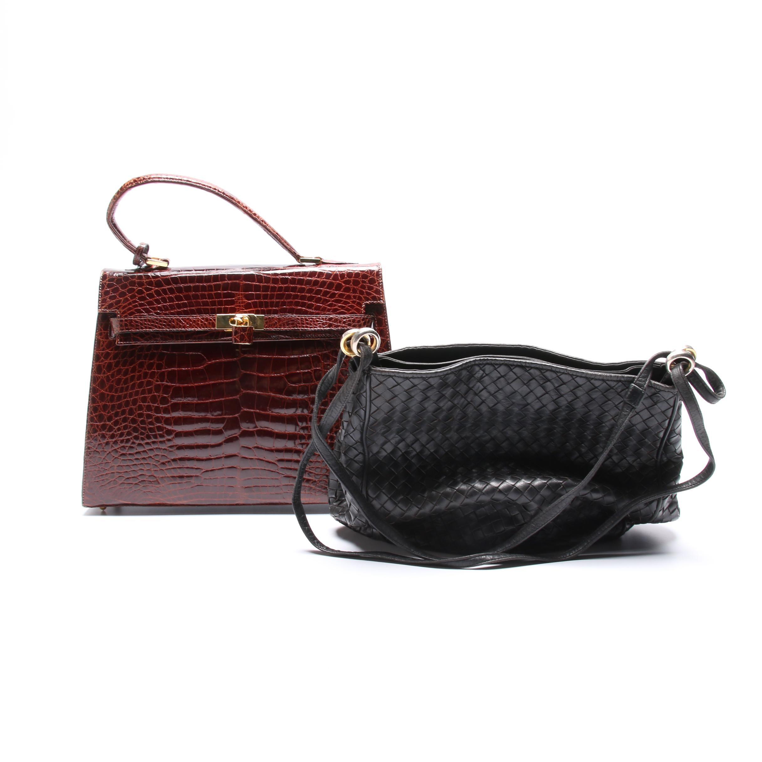 Siso Crocodile Skin Satchel and Woven Leather Handbag