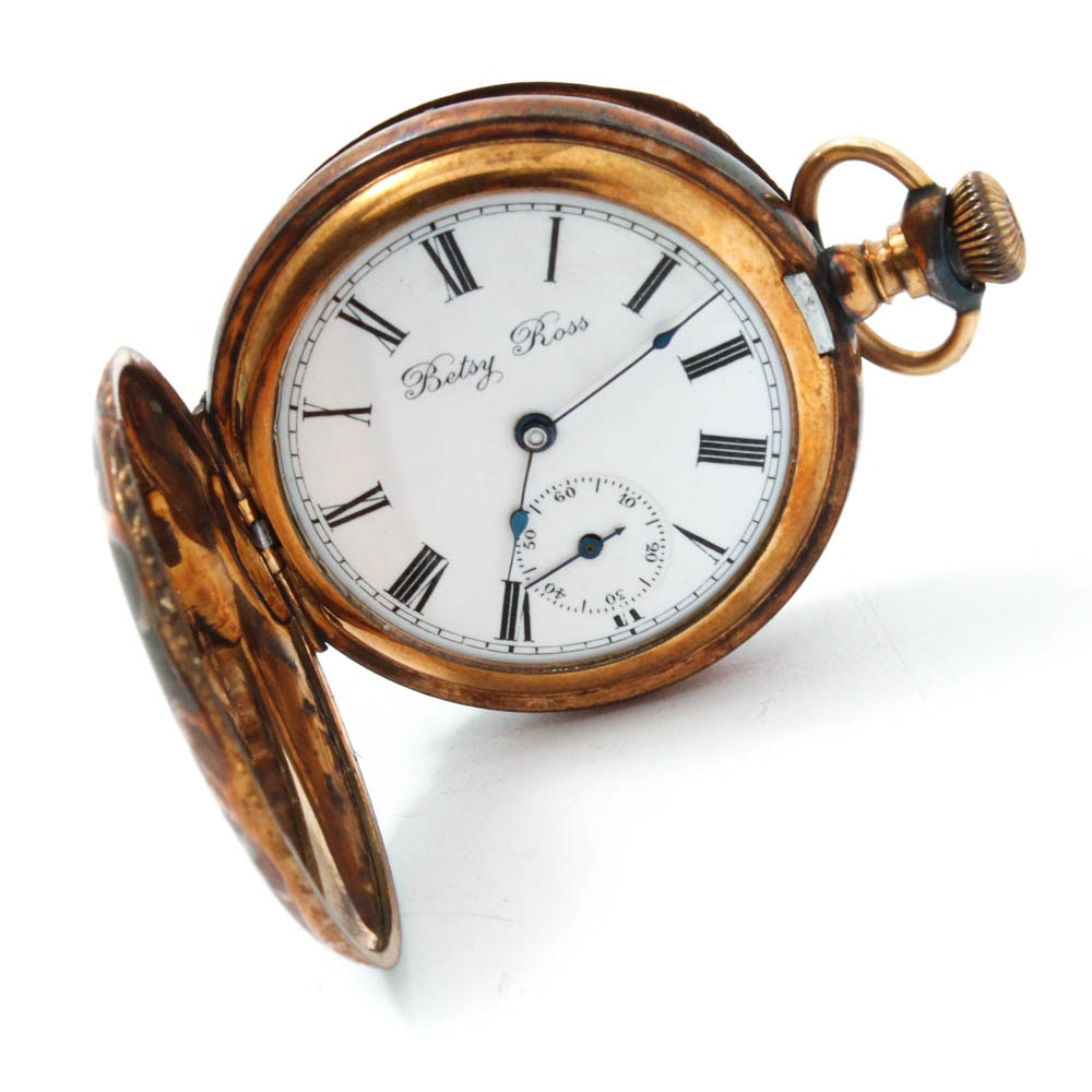 Antique Betsy Ross Gold Filled Pocket Watch