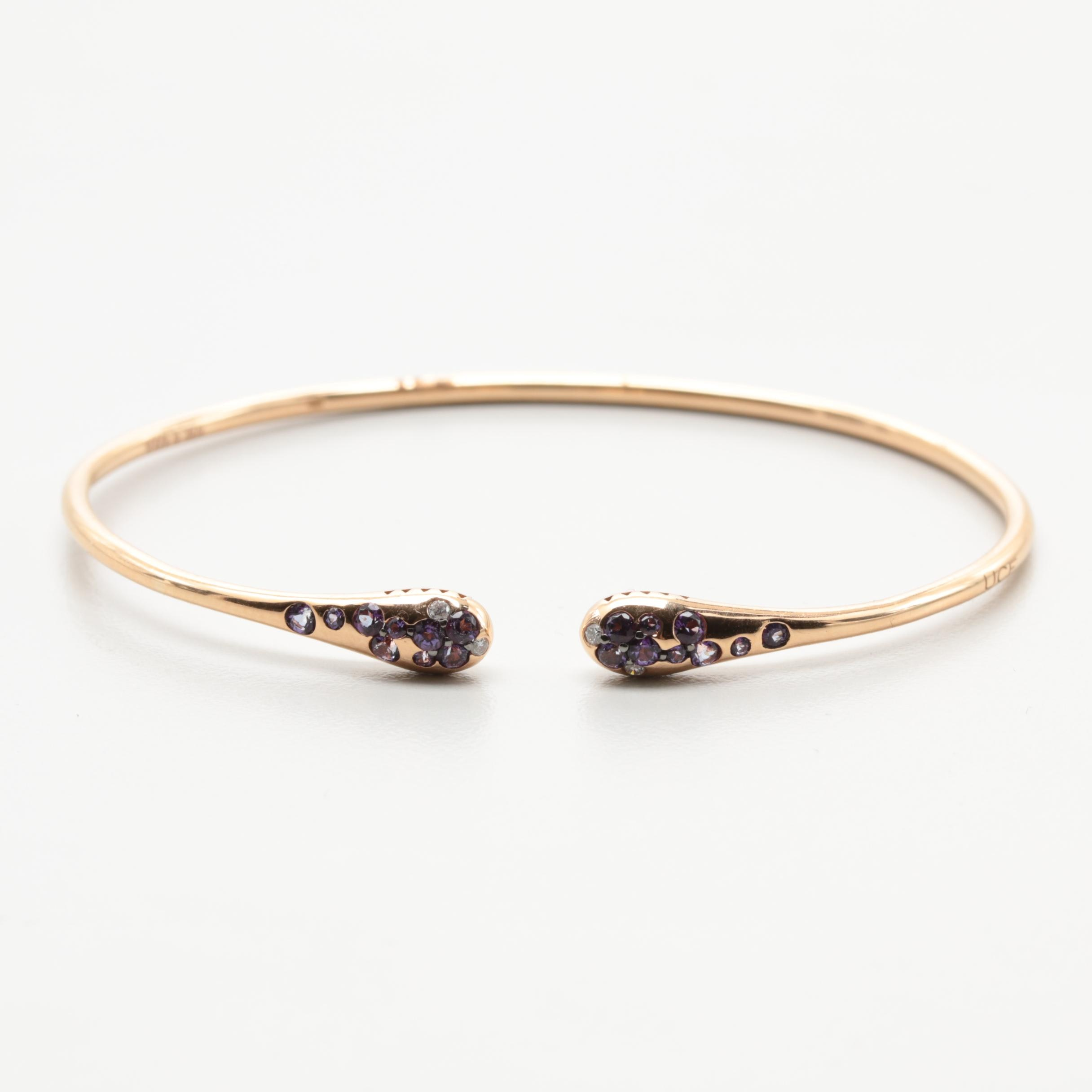 Italian 18K Rose Gold Diamond and Amethyst Open Bangle Bracelet