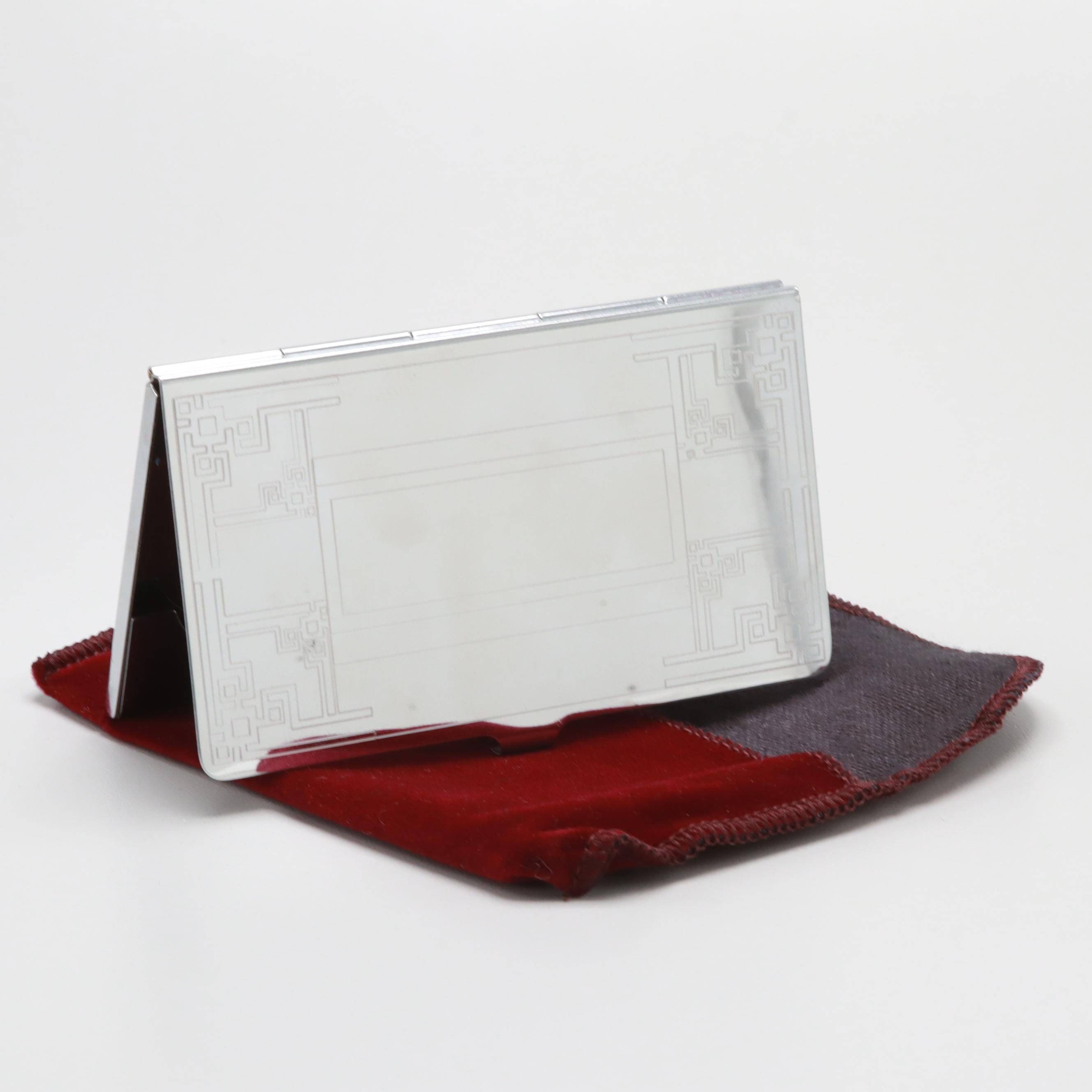 Silver Tone Business Card Case with Pouch